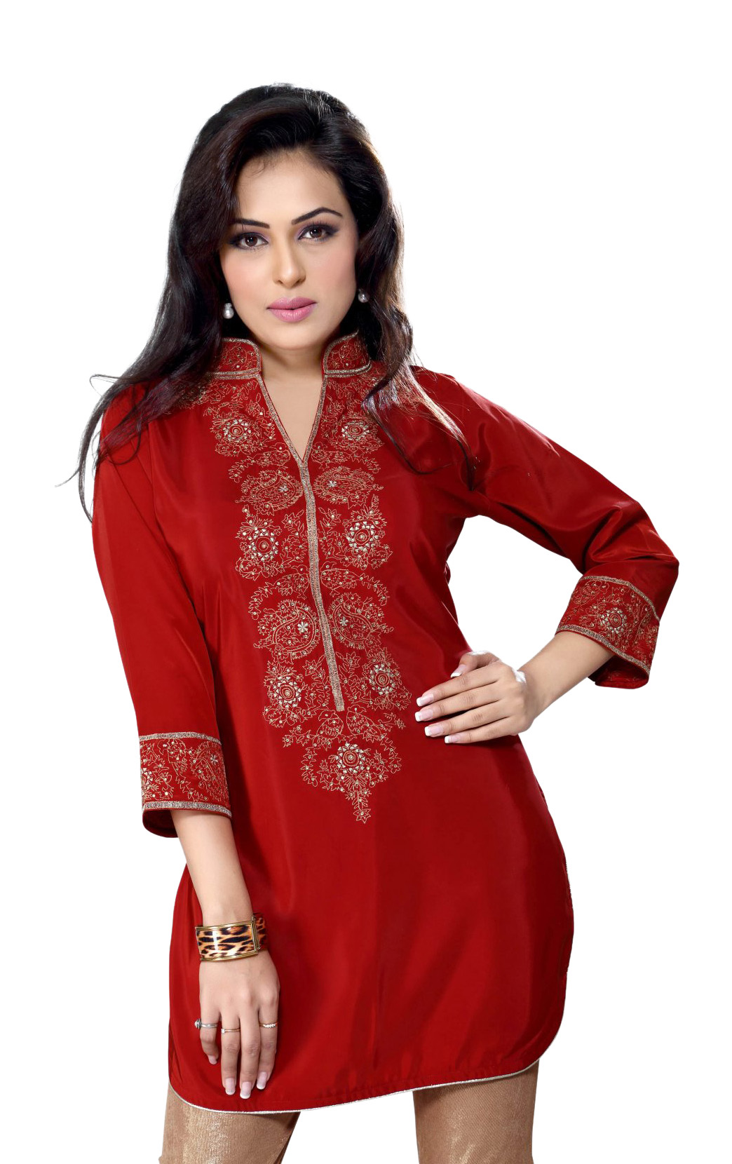 Rust Crepe Indian kurti Tunic with embroidery plus size,  plus size fashion plus size appare
