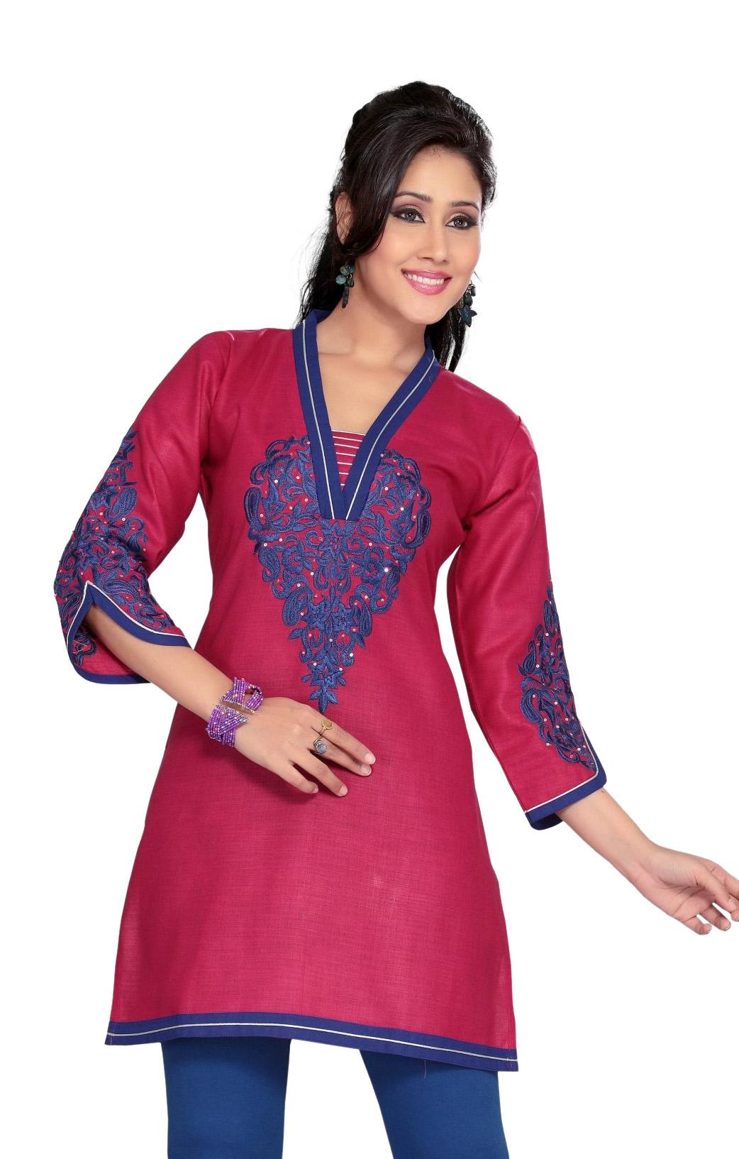 Hot Pink Cotton kurti Tunic with blue embroidery-Medium plus size,  plus size fashion plus size appare