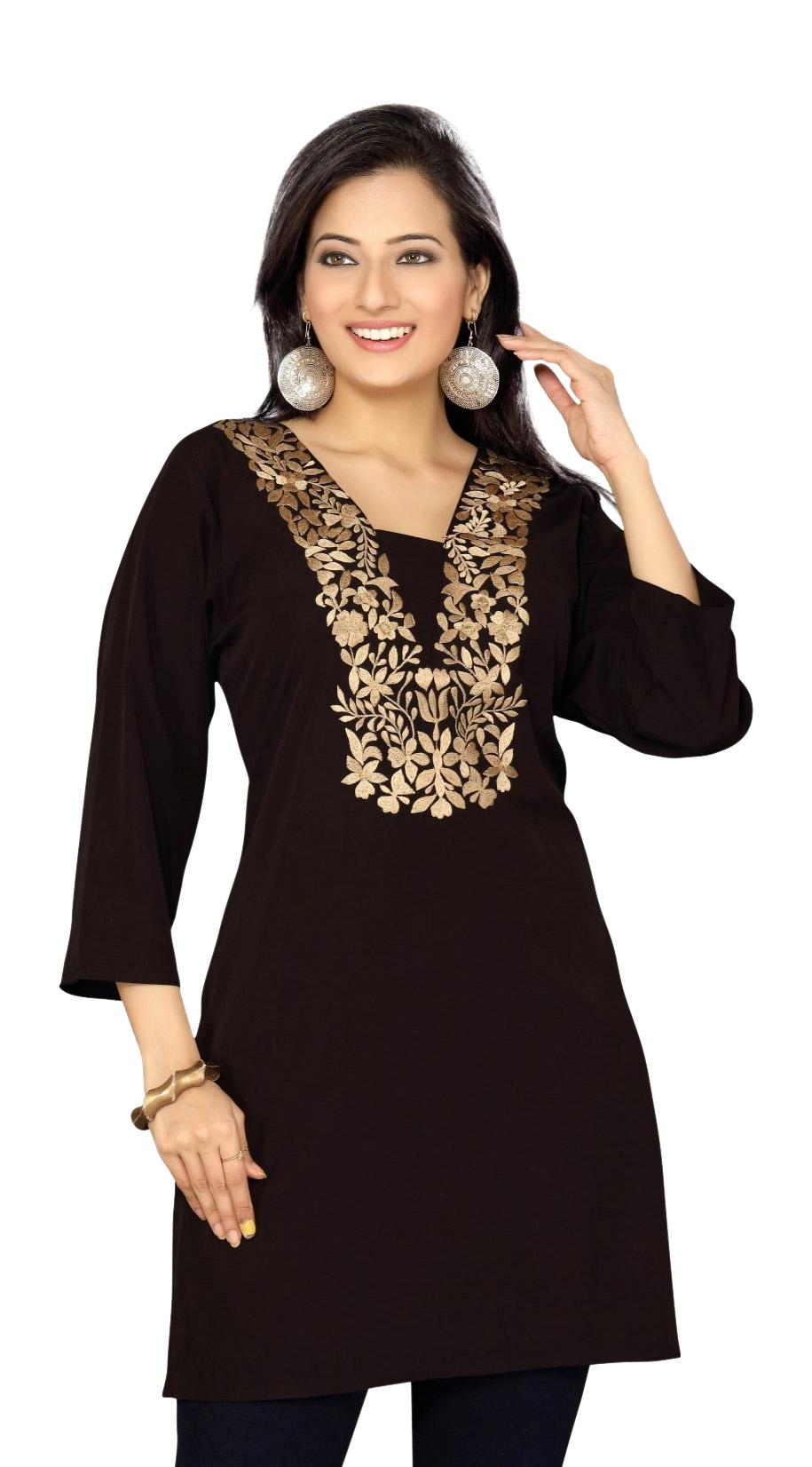 Black crepe kurti Tunic with golden embroidery-Large plus size,  plus size fashion plus size appare