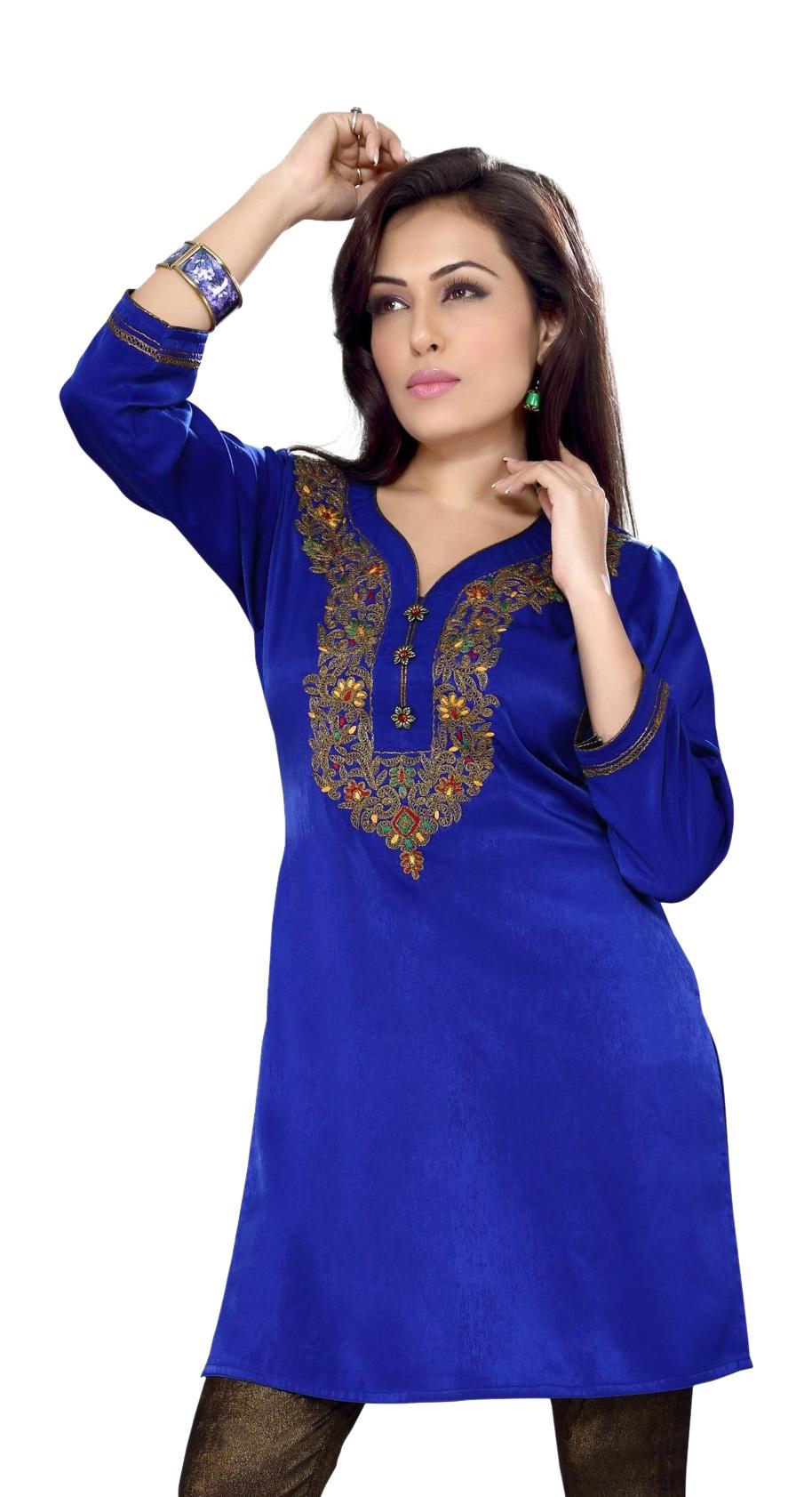 Royal Blue Velvet Indian Kurti Kurta Tunic with embroidery-Medium plus size,  plus size fashion plus size appare