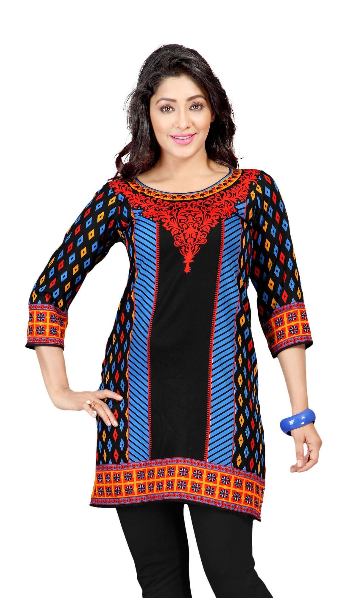 Black 34 Sleeve Indian Printed Kurti Tunic Women Kurta