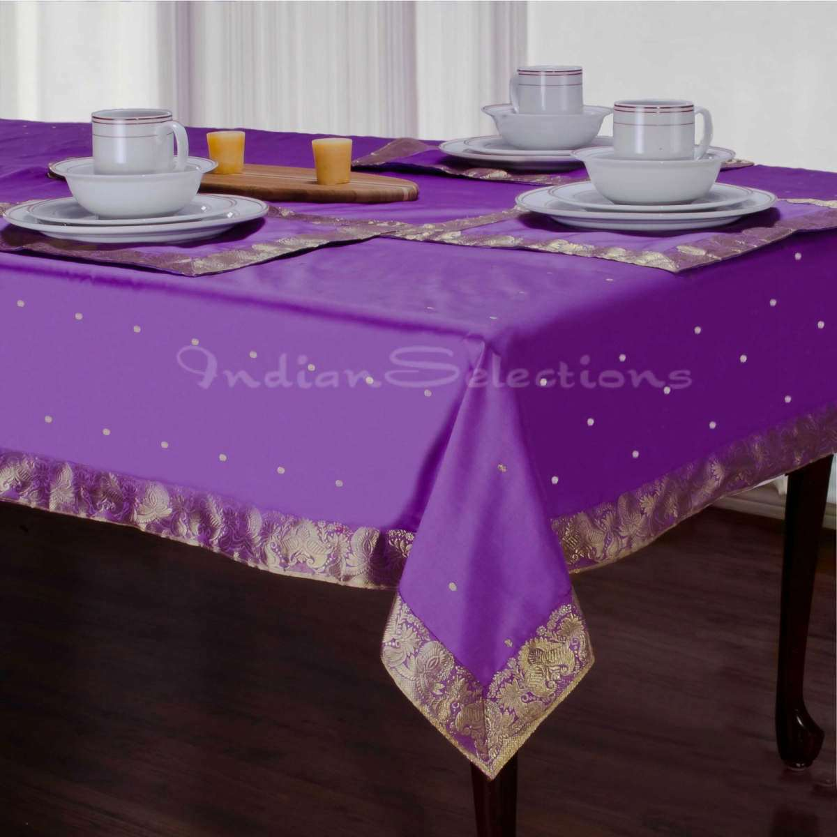 "Lavender - Handmade Sari Oblong Tablecloth (India) - 60 X 102"""
