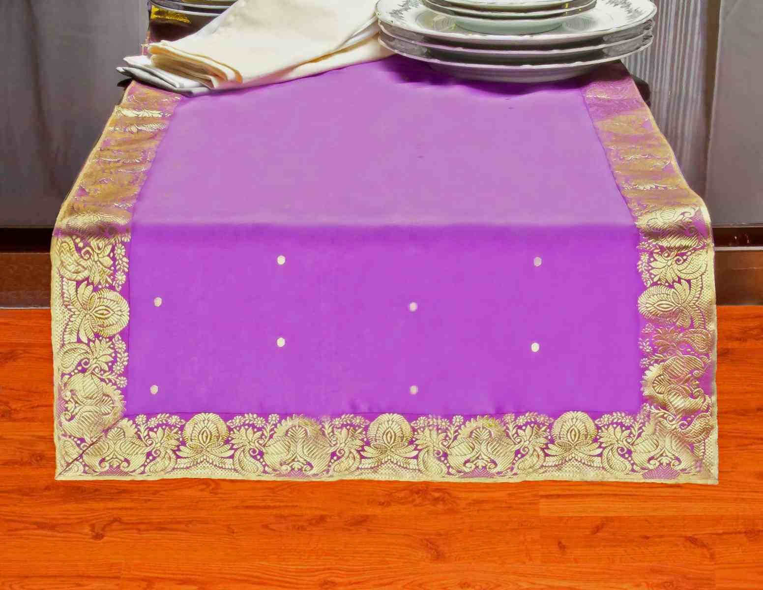 Lavender - Hand Crafted Table Runner (India) - 14 X 70 Inches