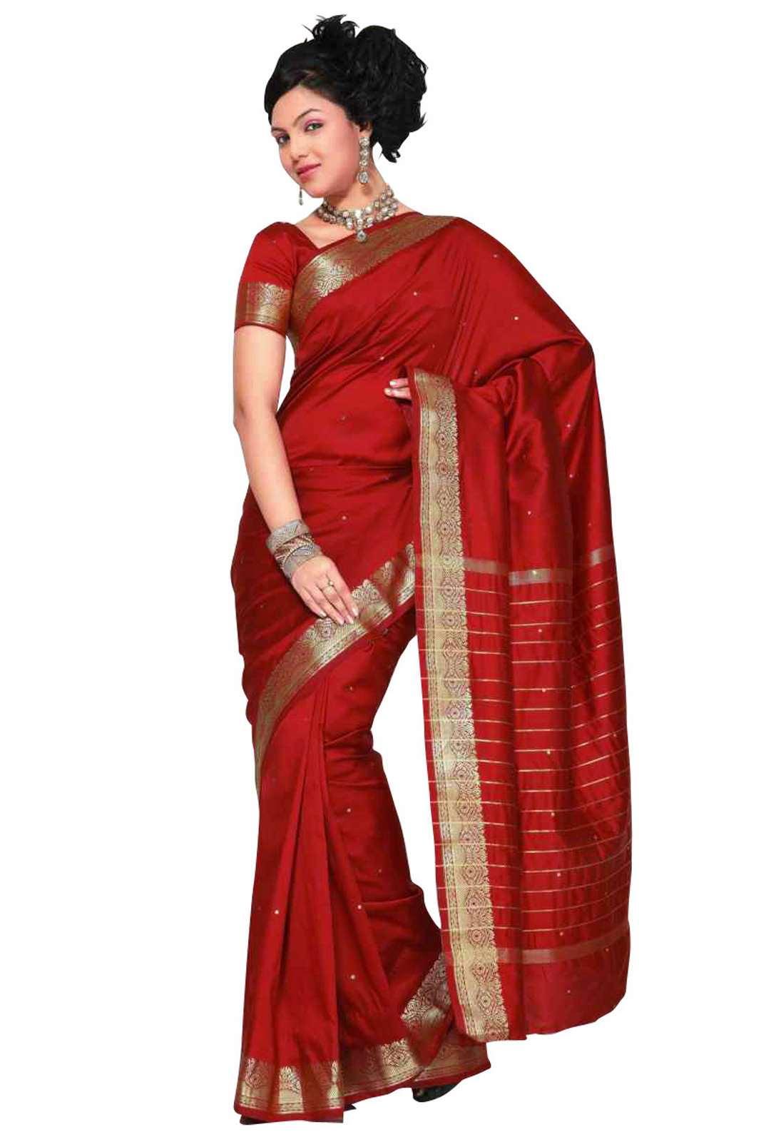 Maroon Art Silk Saree Sari fabric India Golden Border
