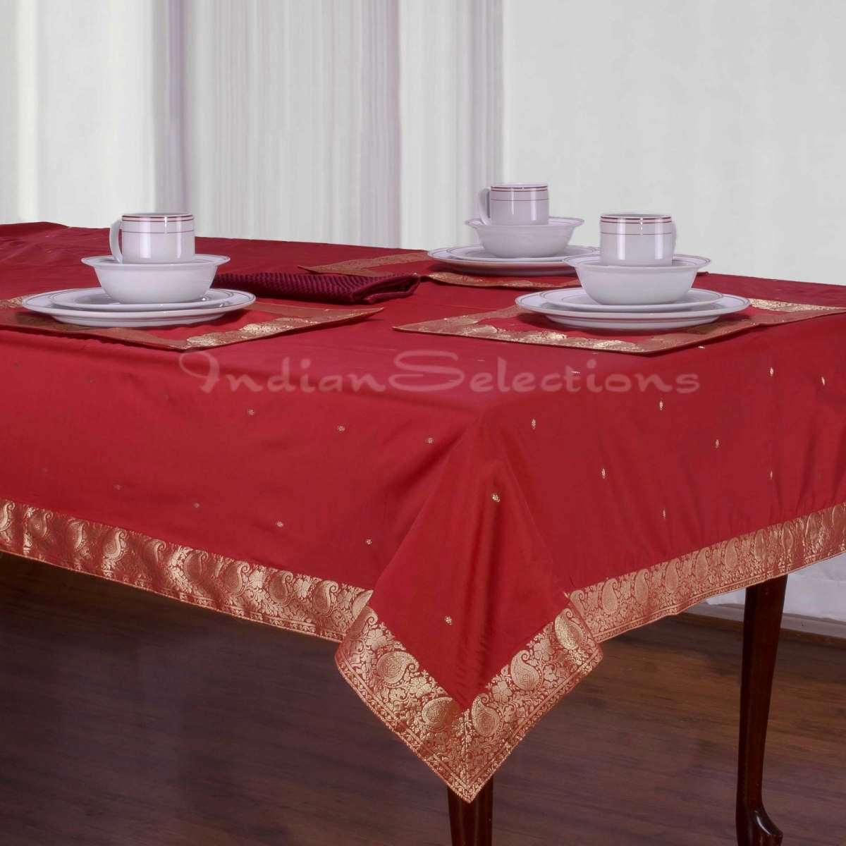 "Maroon - Handmade Sari Oblong Tablecloth (India) - 52"" X 70"""