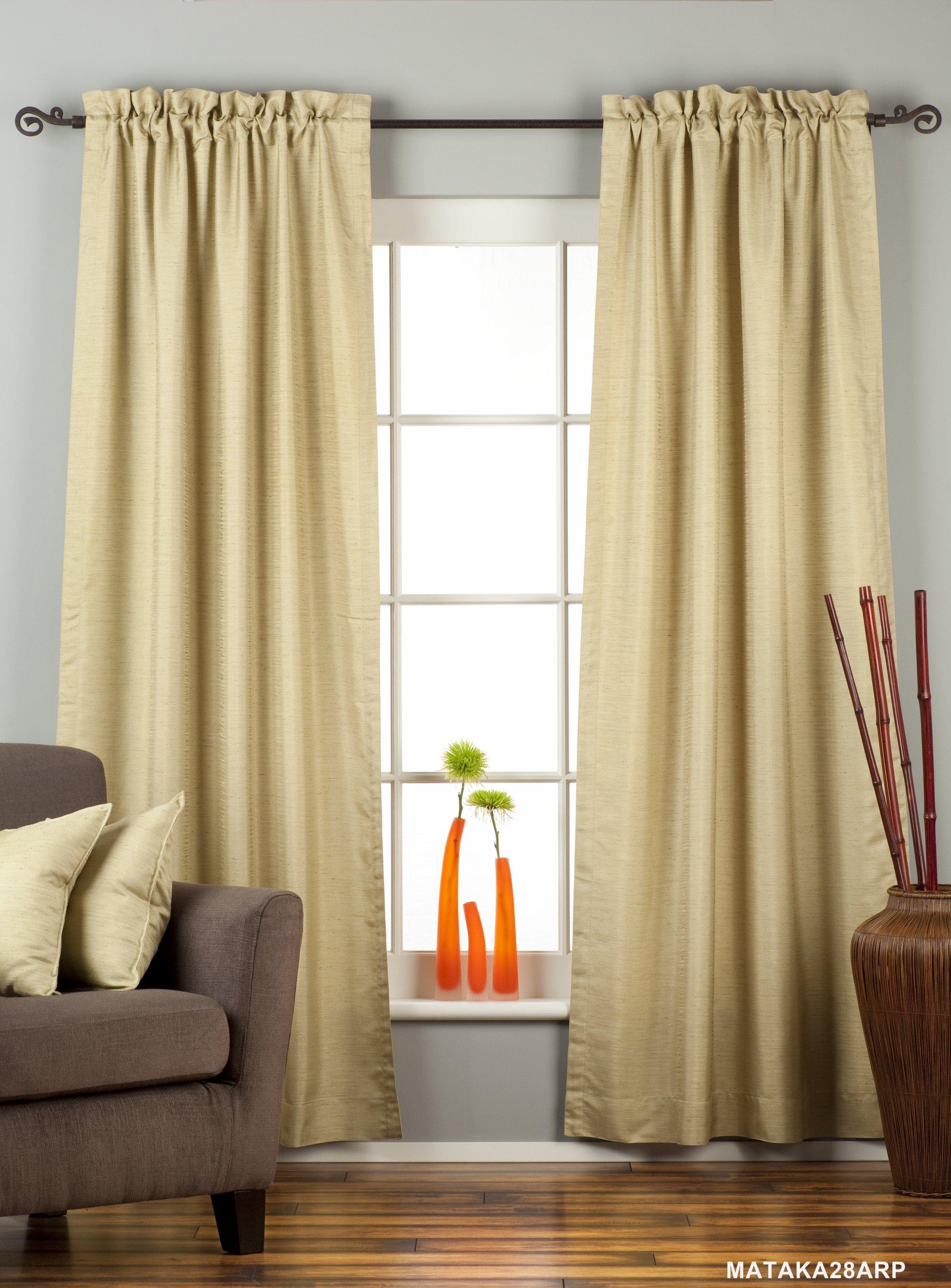 Olive Green Rod Pocket Matka Raw Silk Curtain Drape