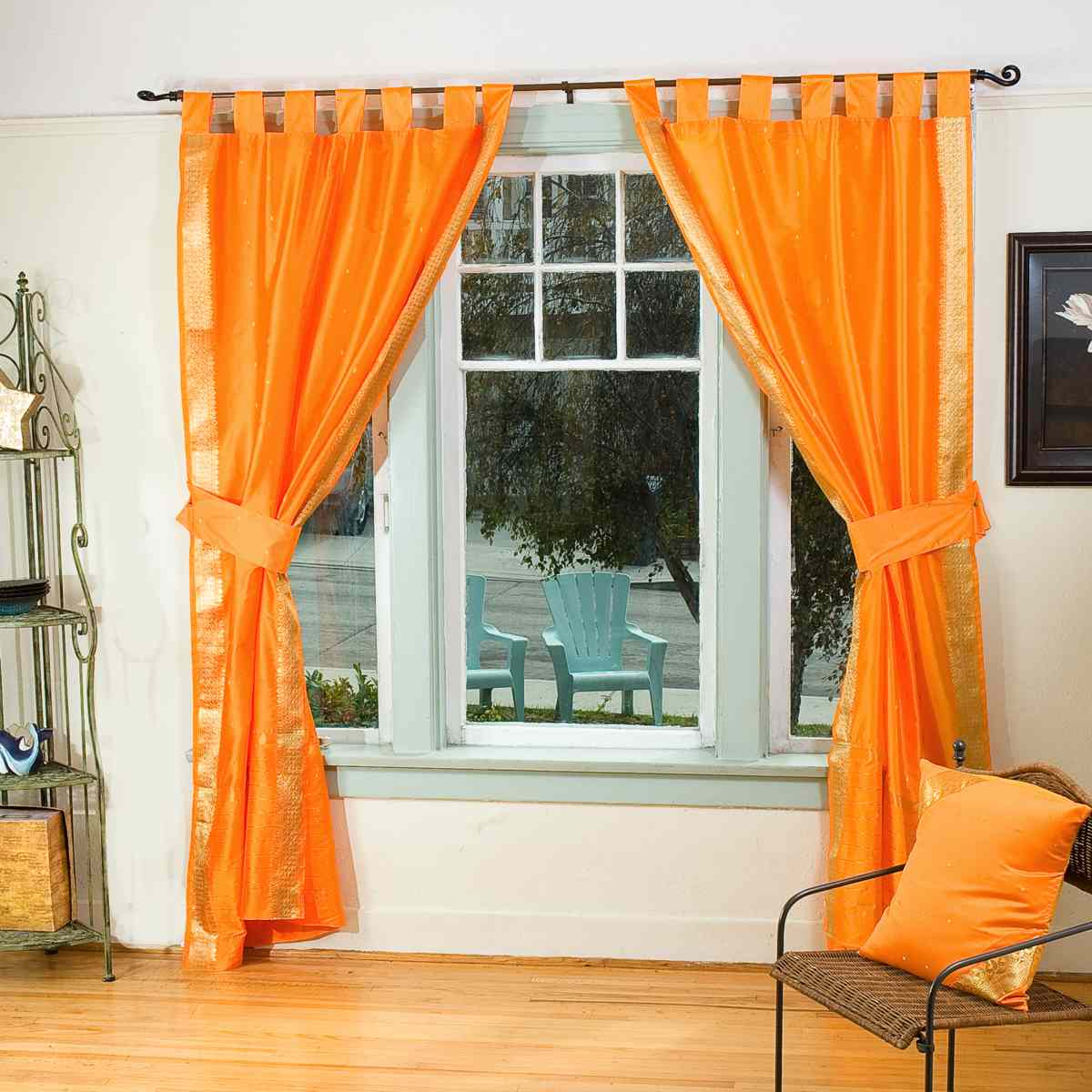 Pumpkin Orange Tab Top Sari Sheer Curtain (43 In.X84 In