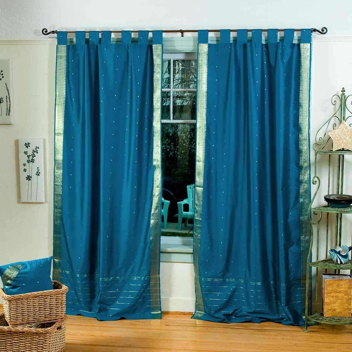 Turquoise Tab Top Sheer Sari Curtain / Drape / Panel