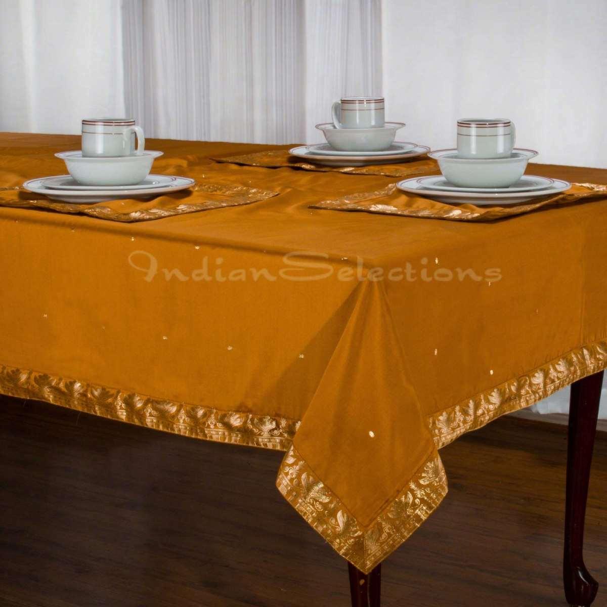 "Mustard - Handmade Sari Oblong Tablecloth (India) - 52"" X 70"""