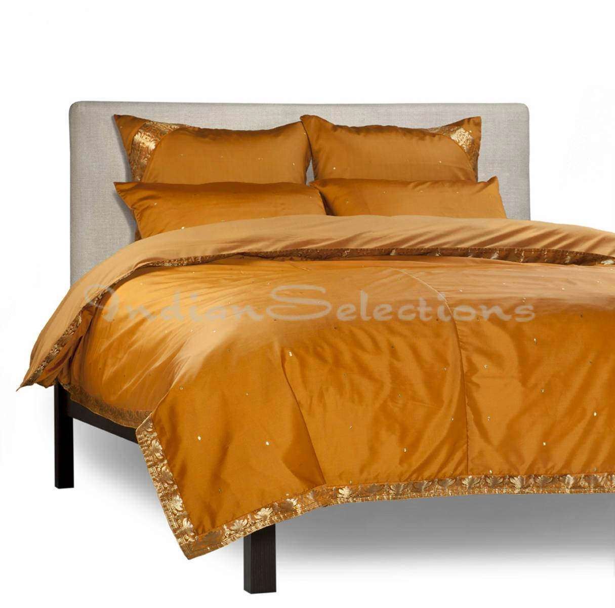 Mustard-5 Piece  Sari Duvet Cover Set w Pillow CoversEuro Sham-Queen