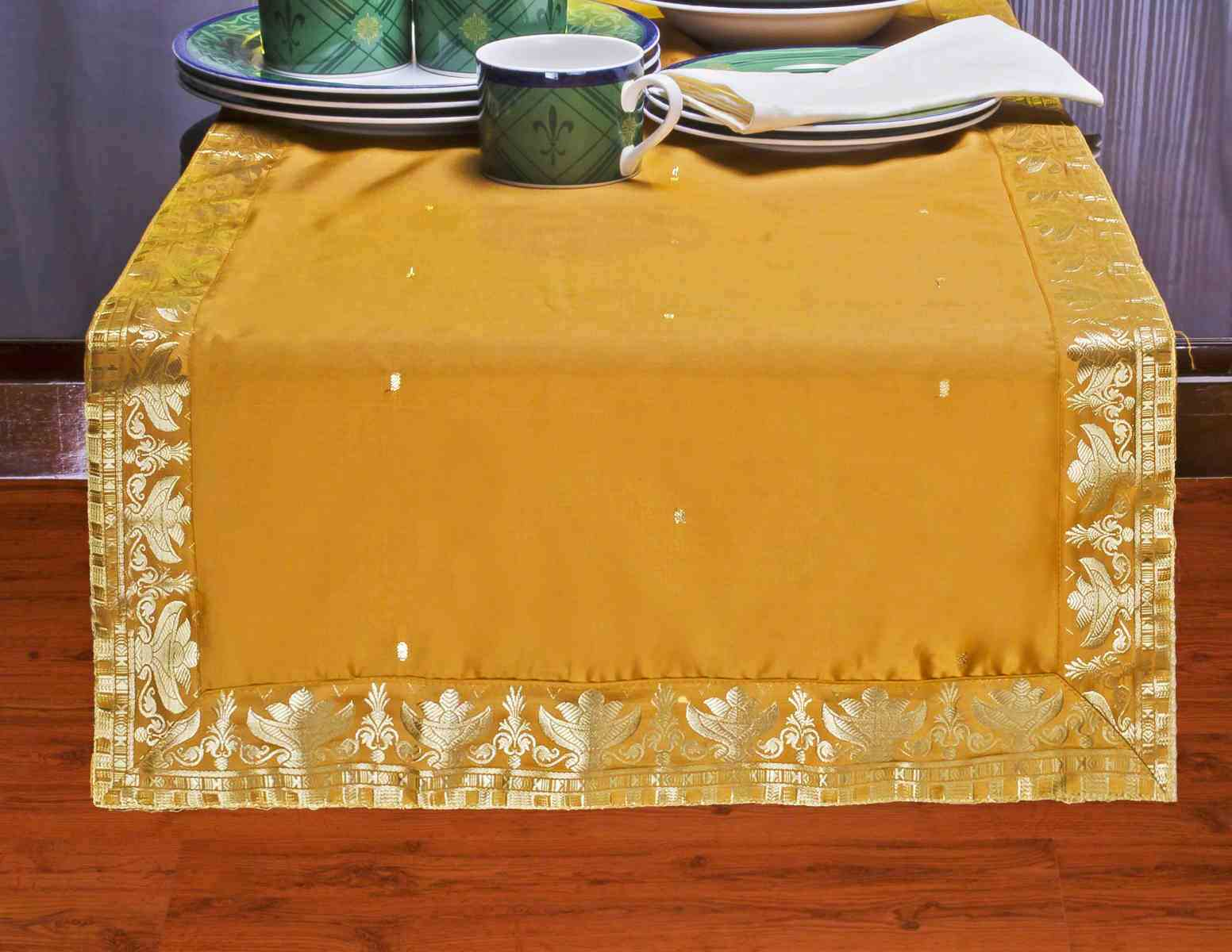 Mustard - Hand Crafted Table Runner (India) - 14 X 70 Inches
