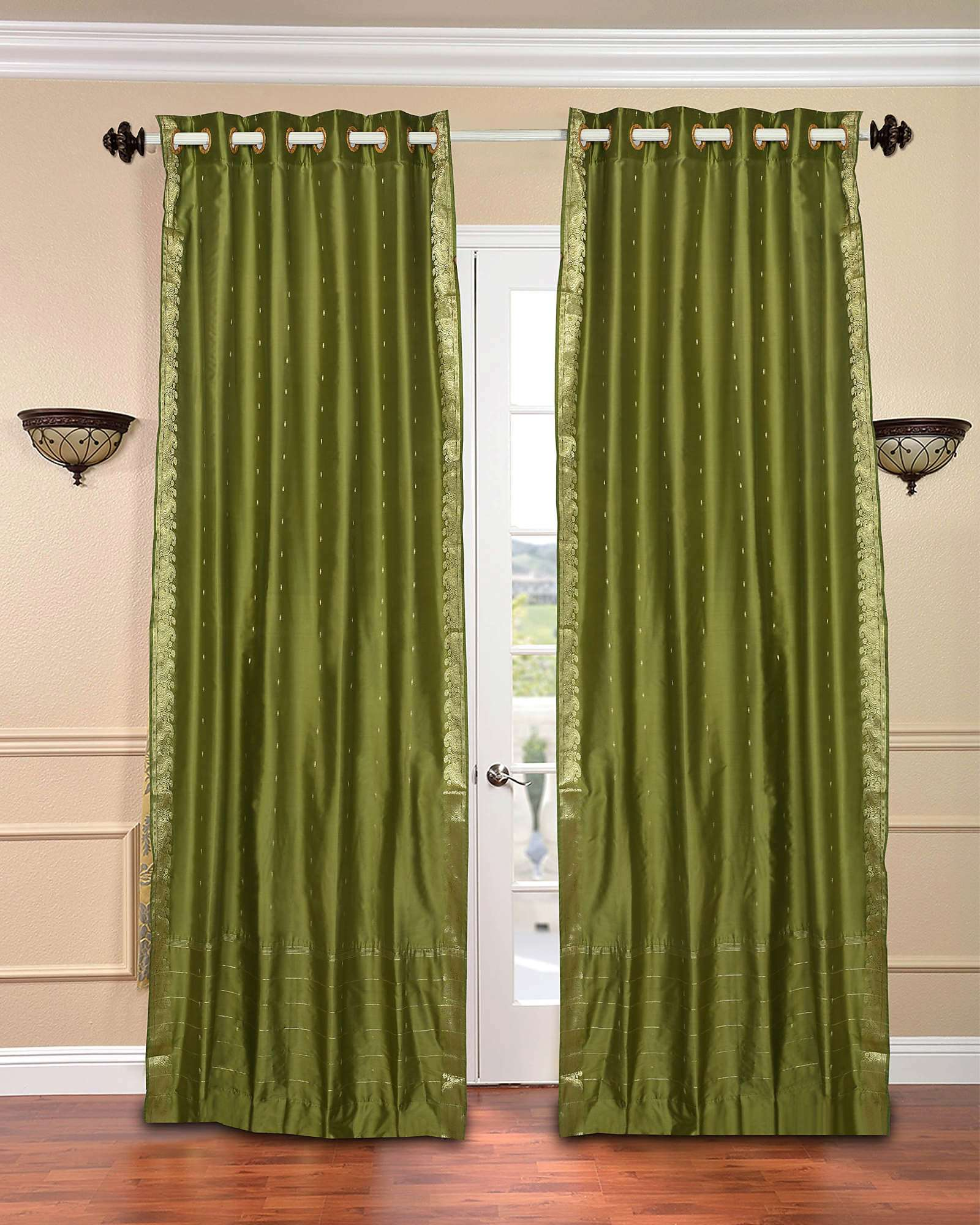 olive green kitchen curtains olive green ring top sheer sari curtain drape panel 3669