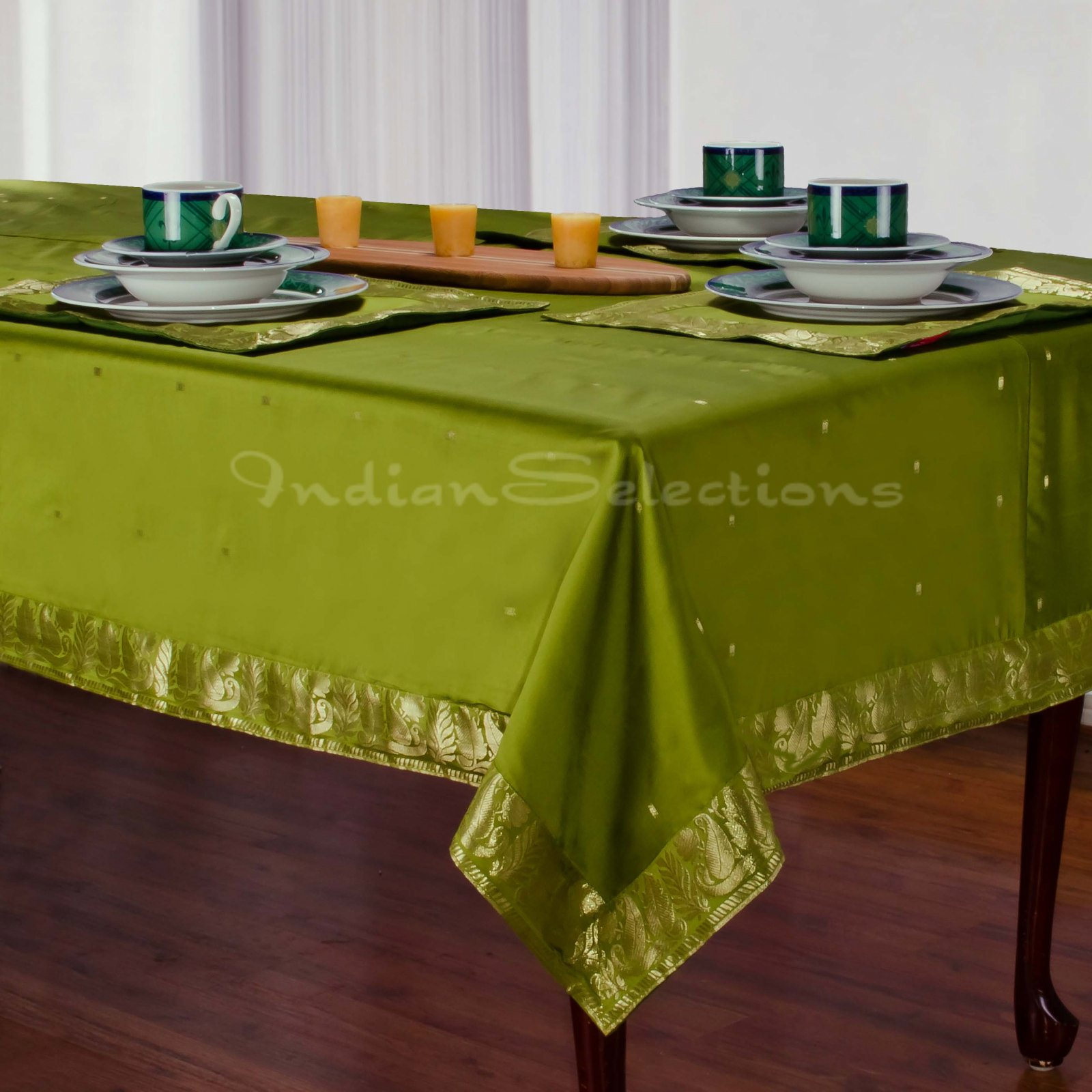 "Olive Green - Handmade Sari Oblong Tablecloth (India) - 60 x 144"""
