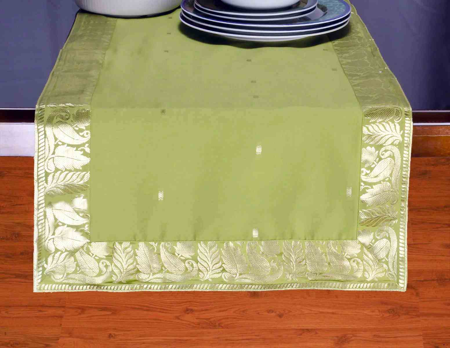 Olive Green - Hand Crafted Table Runner (India) - 14 X 70 Inches