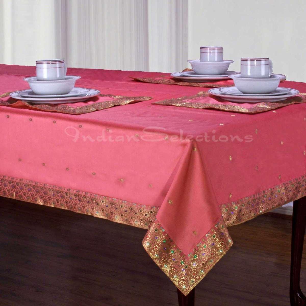 """Pink - Handmade Sari Oblong Tablecloth (India) - 60 X 102"""""""