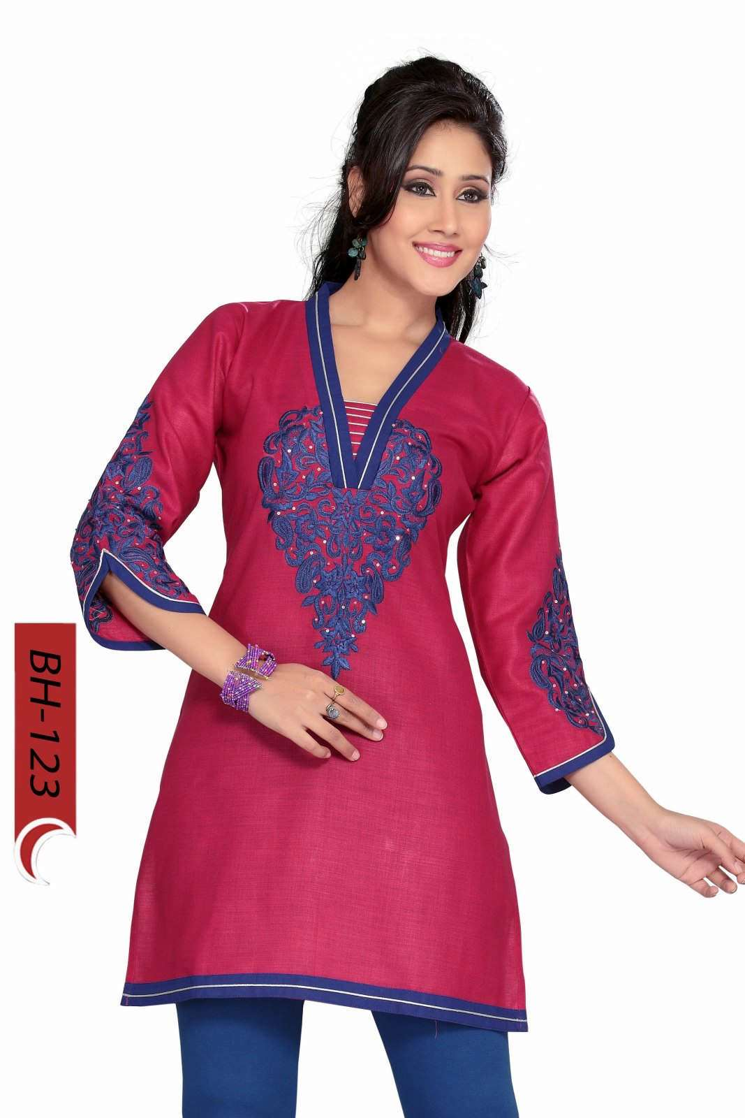 Hot Pink Cotton kurti Tunic with blue embroidery-Medium plus size,  plus size fashion plus size appare