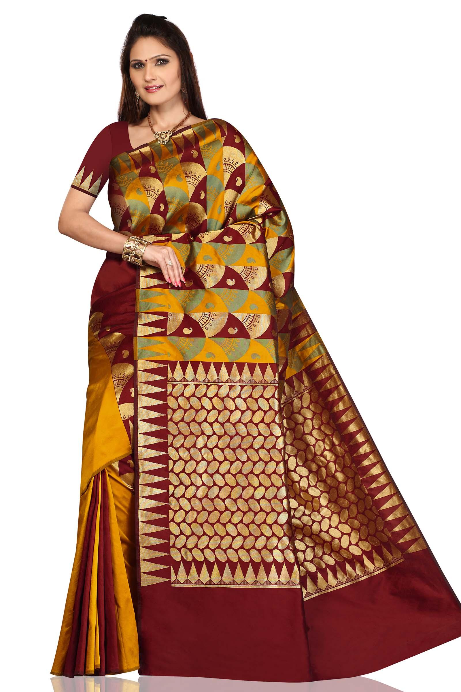 Pumpkin Gold with Maroon Art Silk Sari Saree bellydance wrap
