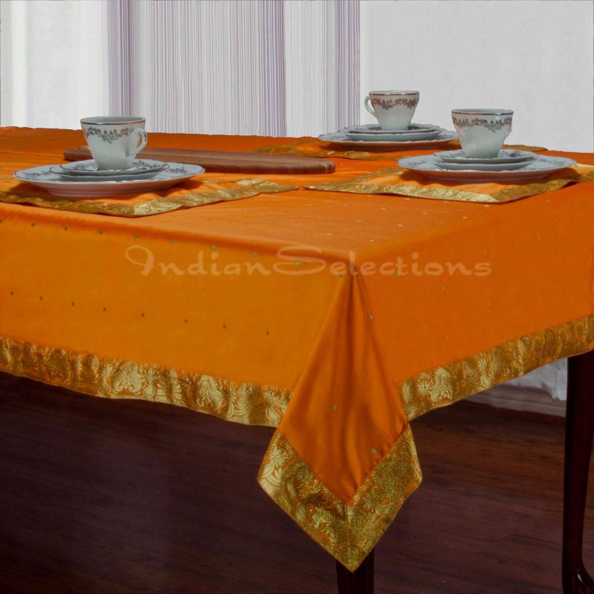 "Pumpkin - Handmade Sari Oblong Tablecloth (India) - 60 X 102"""