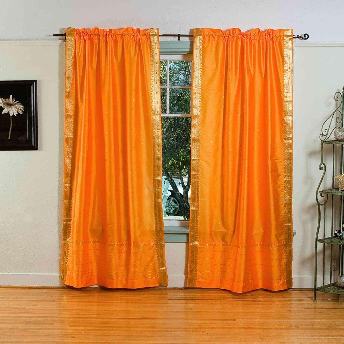 Lined-Pumpkin Rod Pocket  Sheer Sari Curtain  Drape  - 80W x 84L - Piece