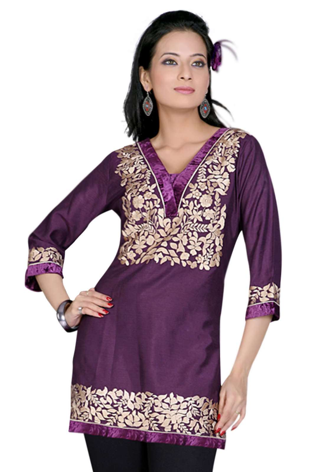Purple 34 sleeves KurtiTunic with designer embroidery