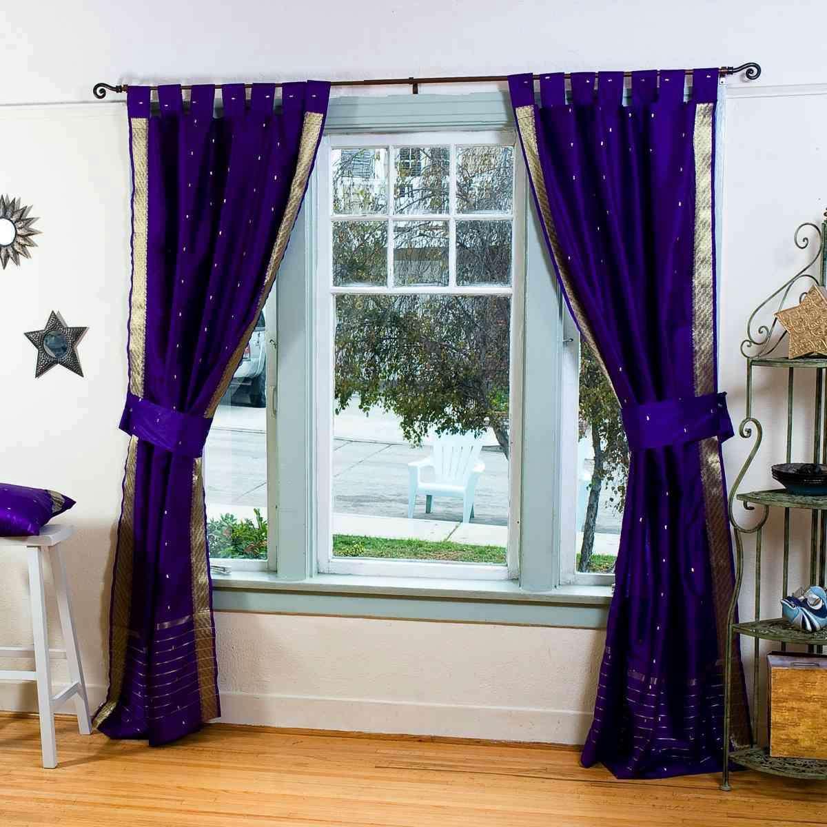 3 Purple Tab Top Sari Curtain (43 In. X 84 In.) - 6 Matching Tieback