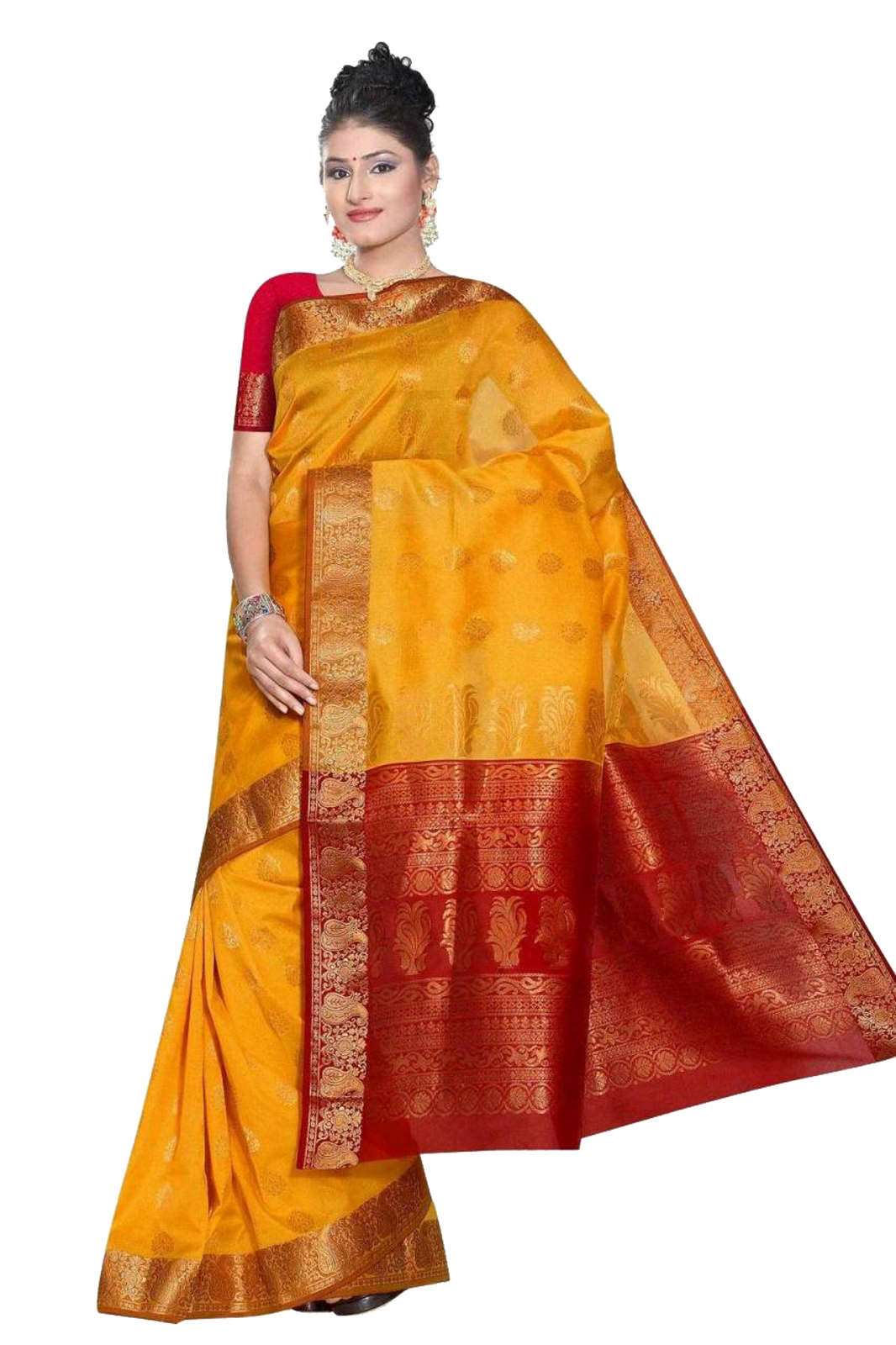 Yellow and red South Indian fancy Art Silk Sari Saree bellydance wrap