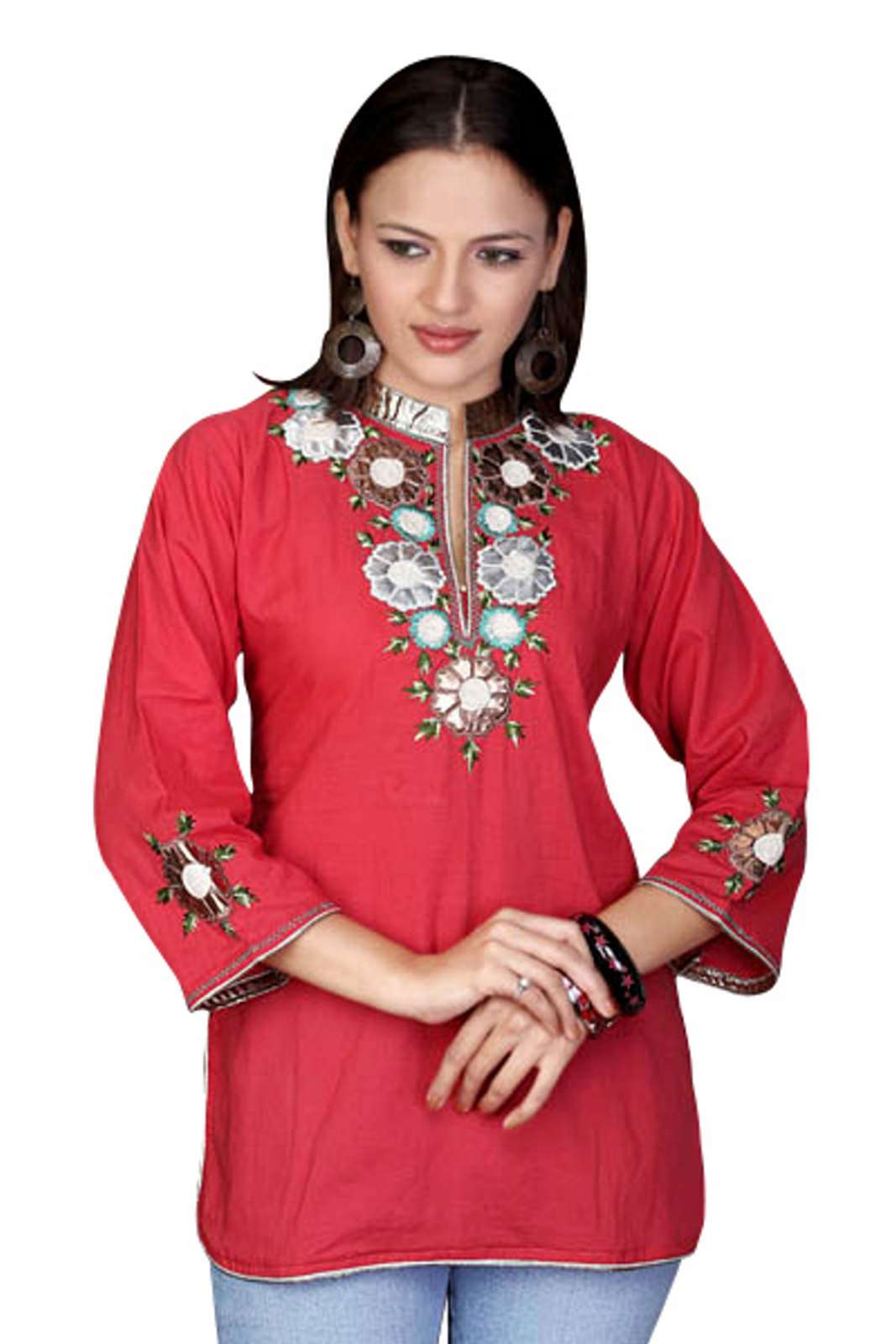 Fire Brick Cotton Kurti Tunic with leather embroidery work plus size,  plus size fashion plus size appare
