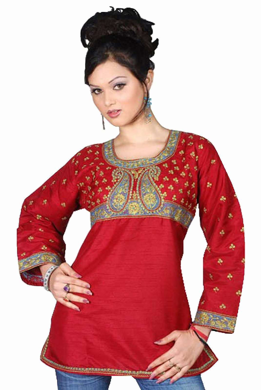 Indian Selections - Art Silk Maroon Red long sleeves KurtiTunic - Large plus size,  plus size fashion plus size appare
