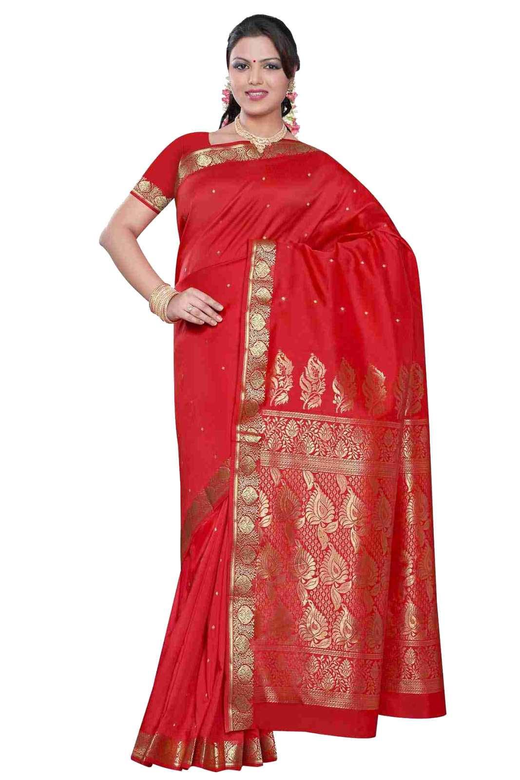 Spicy red -  Benares Art Silk Sari  SareeBellydance Fabric (India)