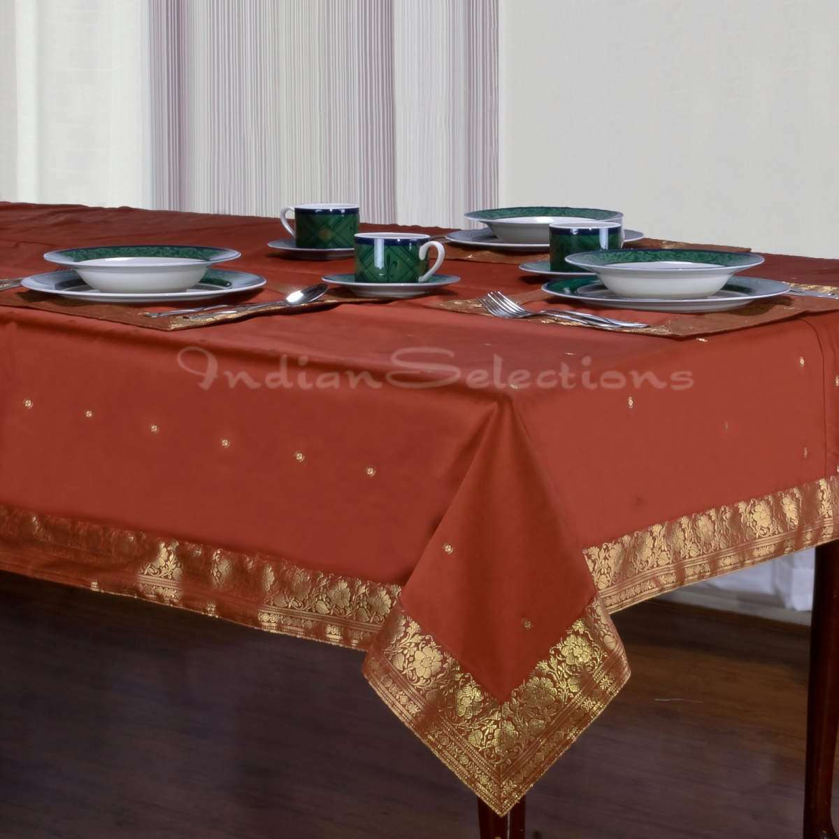 "Rust - Handmade Sari Oblong Tablecloth (India) - 60 X 84"""