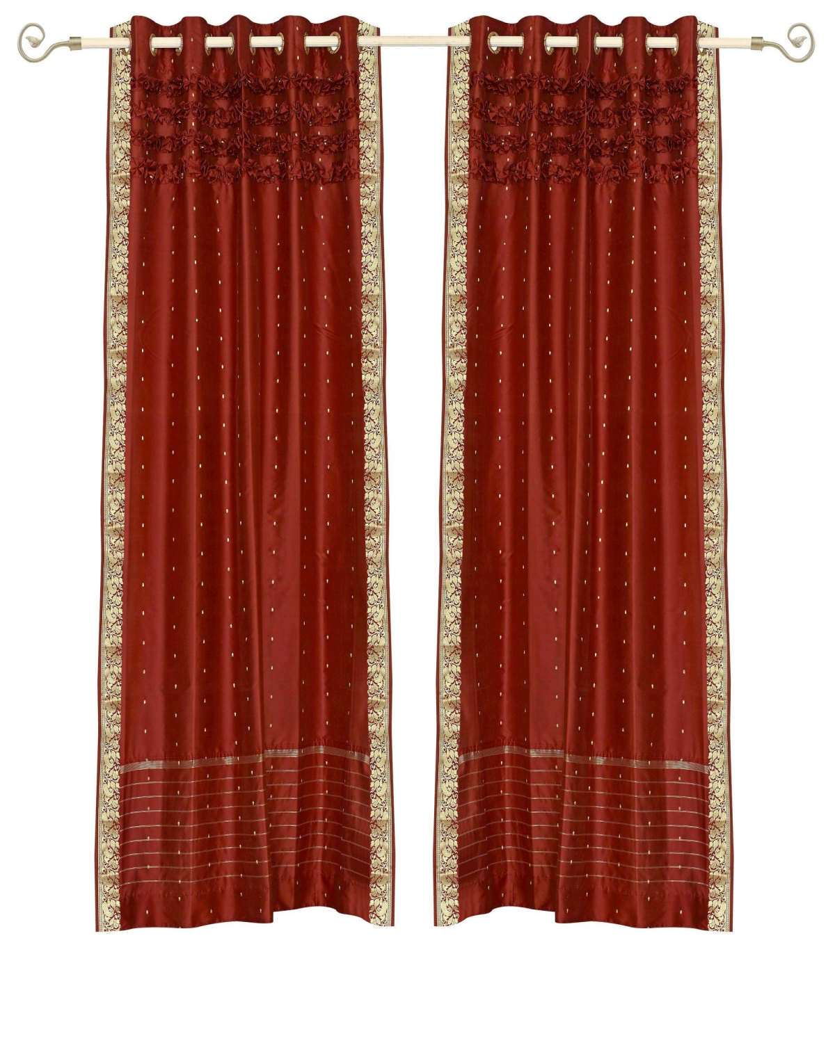 Rust Hand Crafted Grommet Top  Sheer Sari Curtain  Drape  Panel   - 43W x 108L - Piece