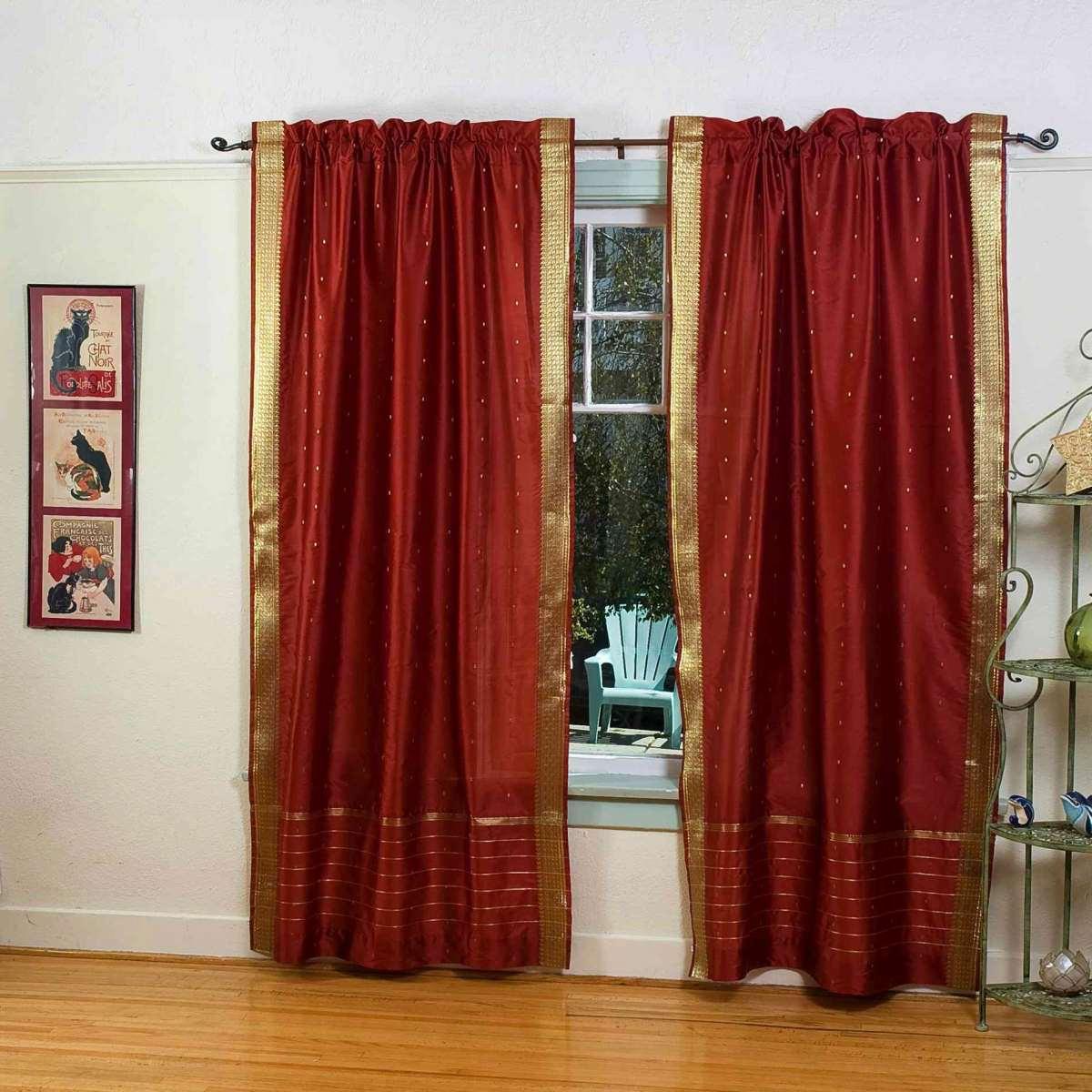 Lined-Rust Rod Pocket  Sheer Sari Cafe Curtain  Drape - 43W x 24L - Piece