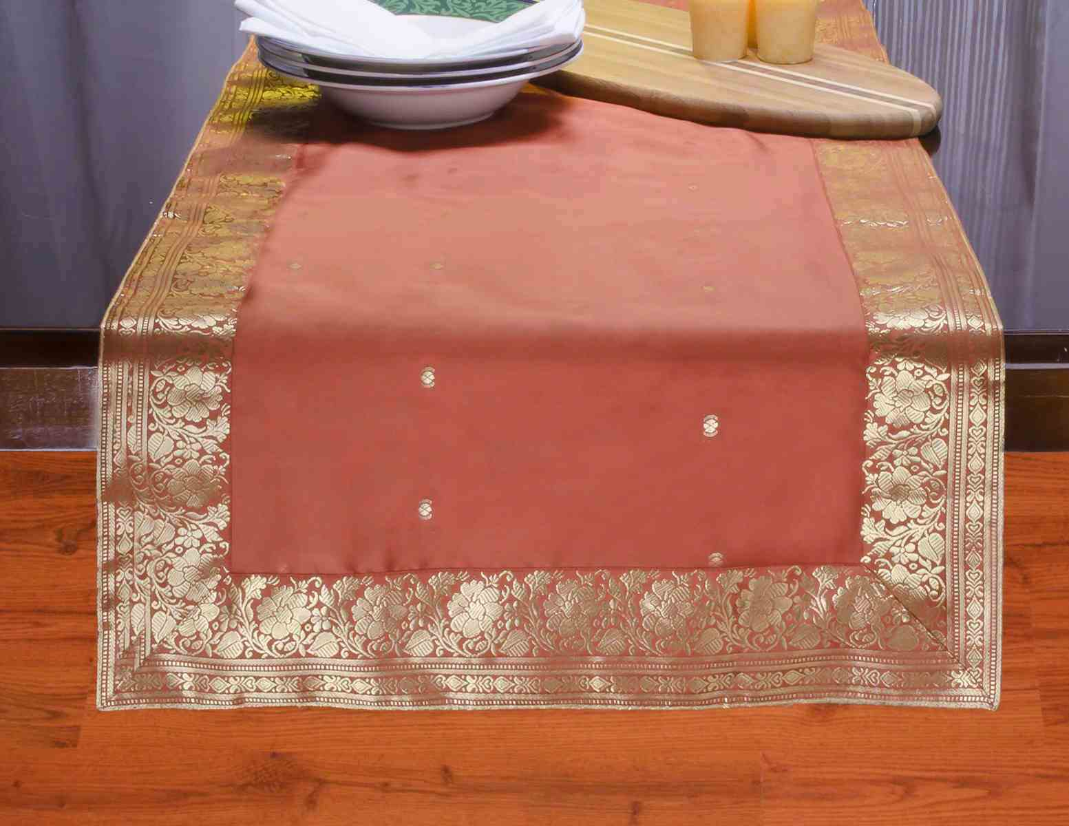 Rust - Hand Crafted Table Runner (India) - 14 X 70 Inches