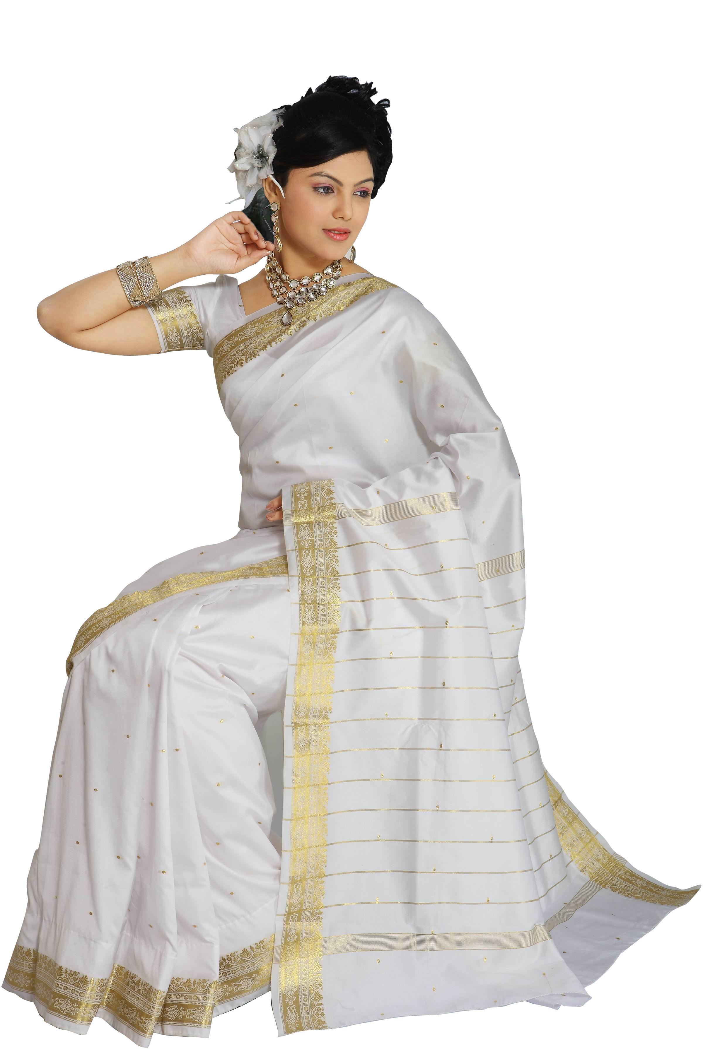 White Saree Tamanna In Veeram: White Art Silk Saree Sari Fabric India Golden Border