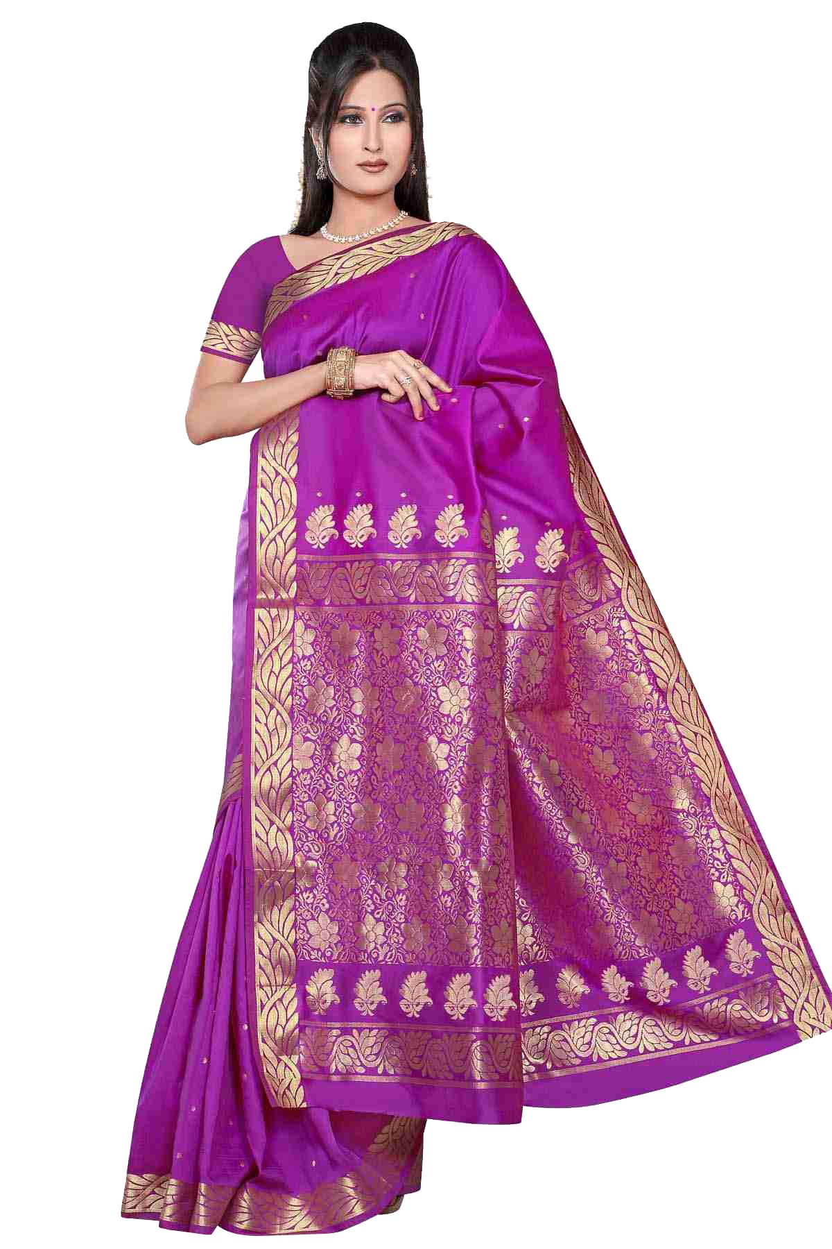 Violet red -  Benares Art Silk Sari  SareeBellydance Fabric (India)