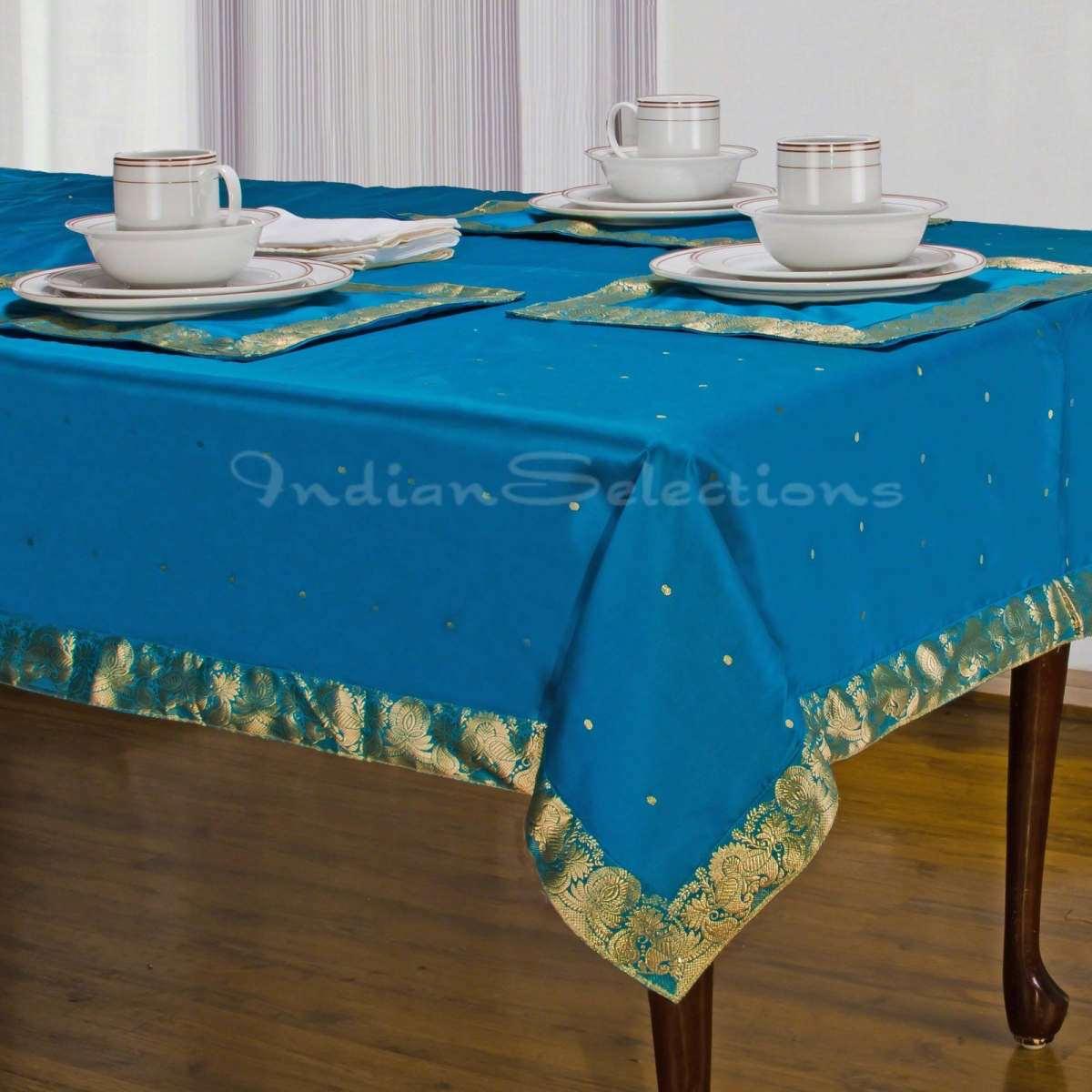 "Turquoise - Handmade Sari Oblong Tablecloth (India) - 60 X 102"""