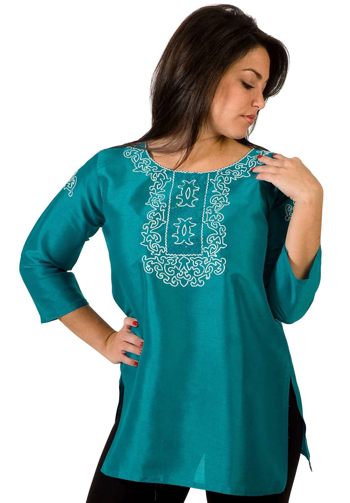 Turquoise Art Silk Indian Kurti Tunic with thread embroidery plus size,  plus size fashion plus size appare