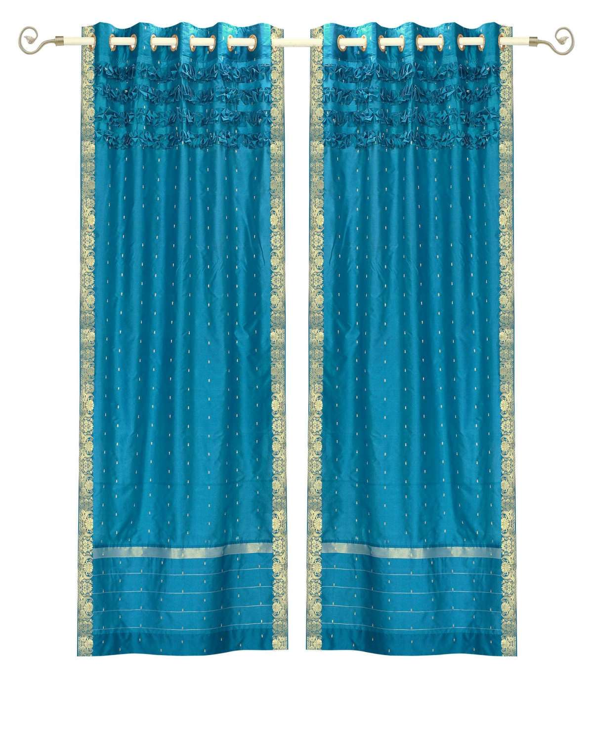 Turquoise Hand Crafted Grommet Top  Sheer Sari Curtain  Drape  Panel   - 43W x 63L - Piece