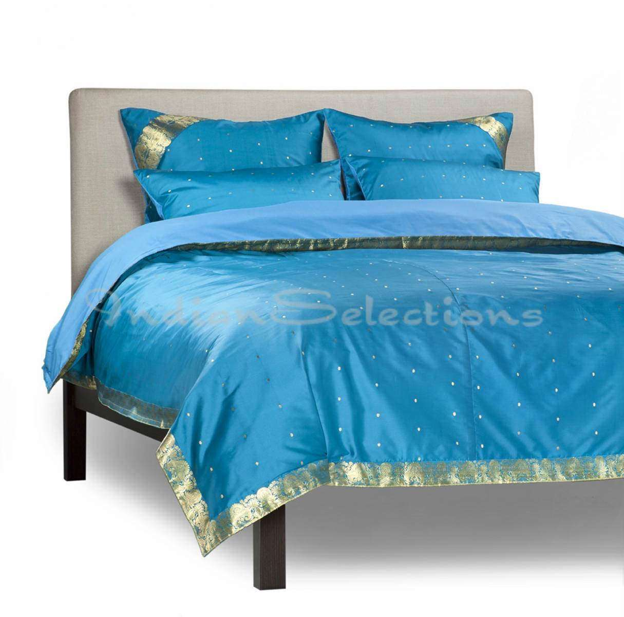 Turquoise-5 Piece  Sari Duvet Cover Set w Pillow CoversEuro Sham-Full