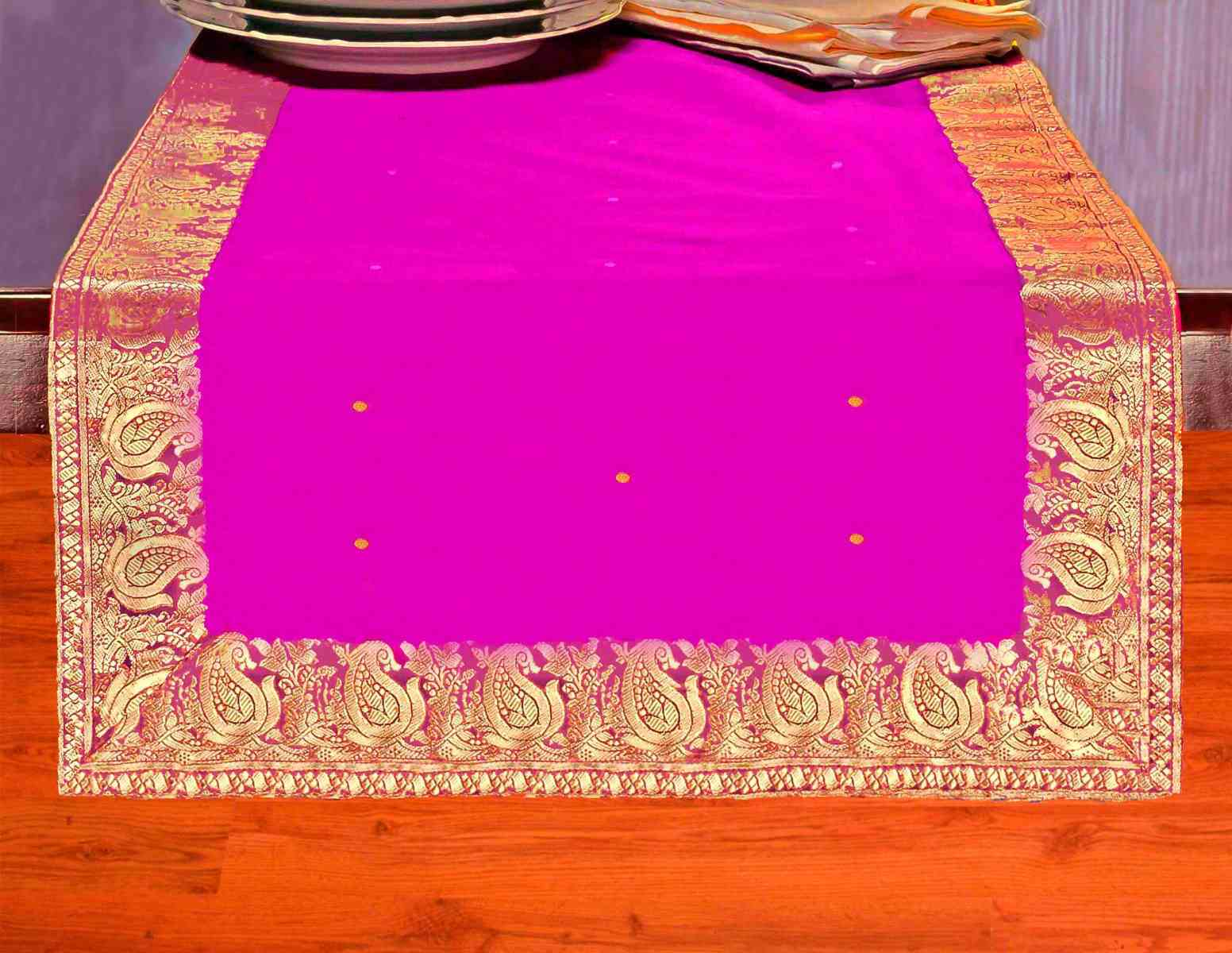 Violet Red - Hand Crafted Table Runner (India) - 14 X 70 Inches
