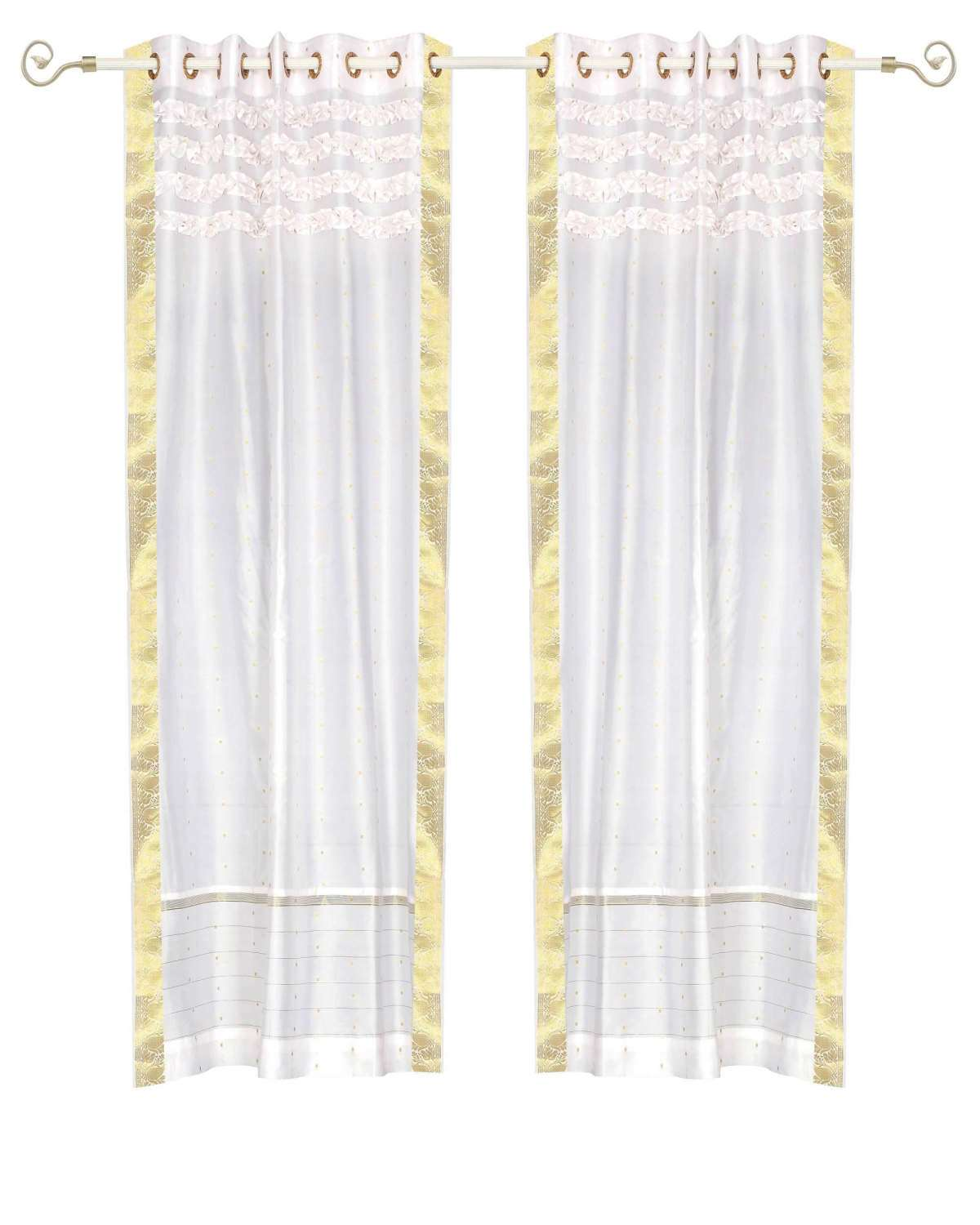 White Hand Crafted Grommet Top  Sheer Sari Curtain  Drape  Panel   - 43W x 108L - Piece