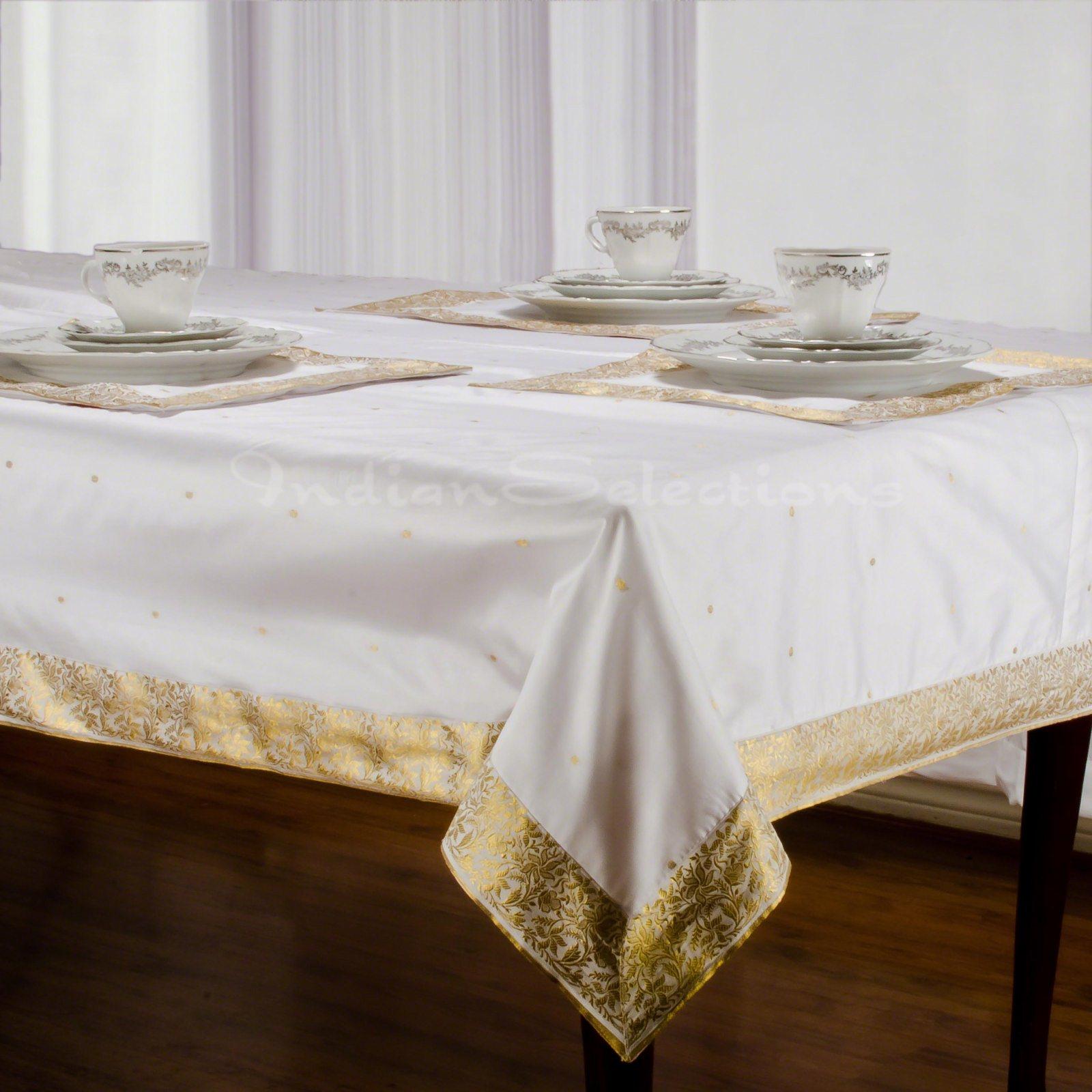 "White Gold - Handmade Sari Oblong Tablecloth (India) - 60 x 120"""