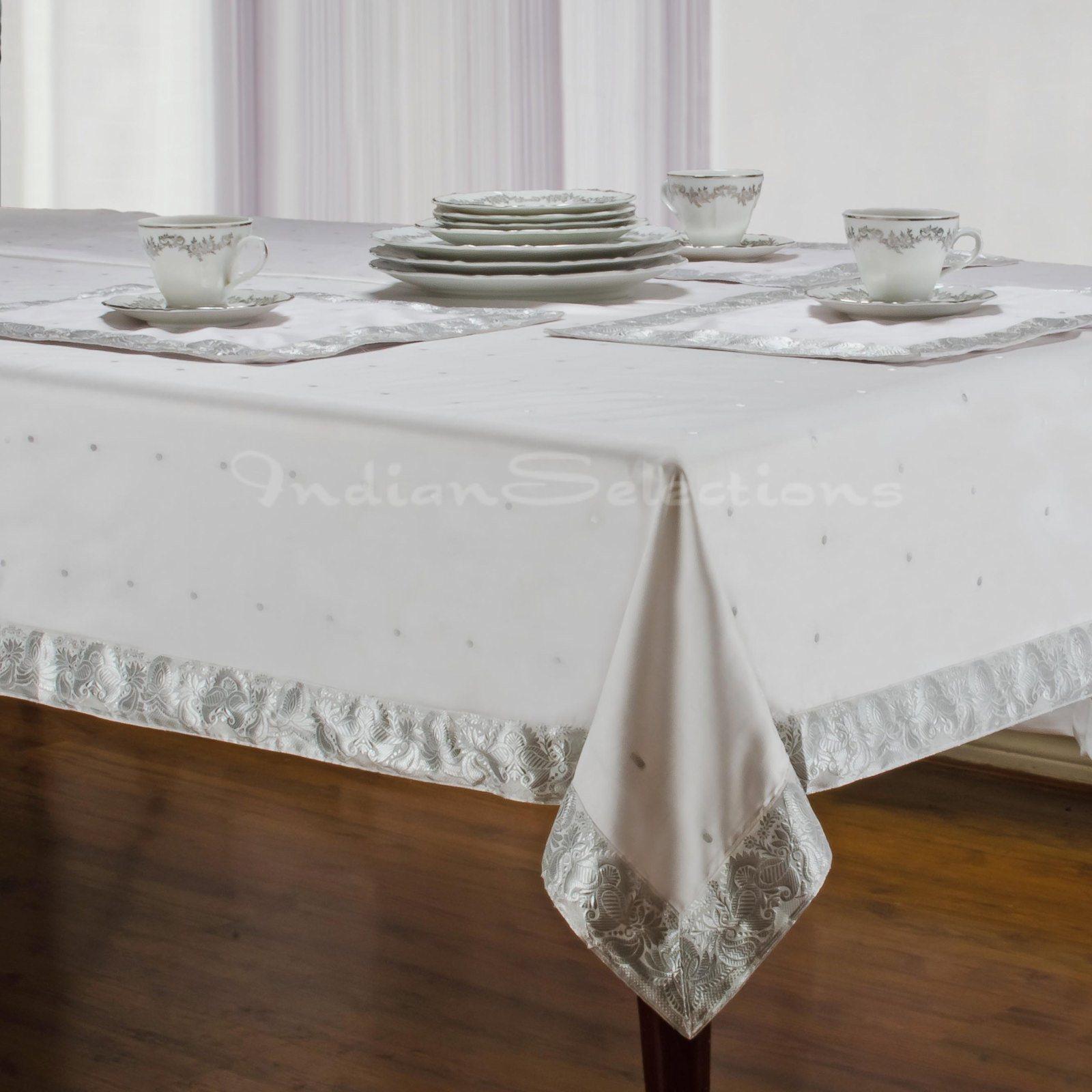 "White Silver - Handmade Sari Oblong Tablecloth (India) - 60 x 120"""