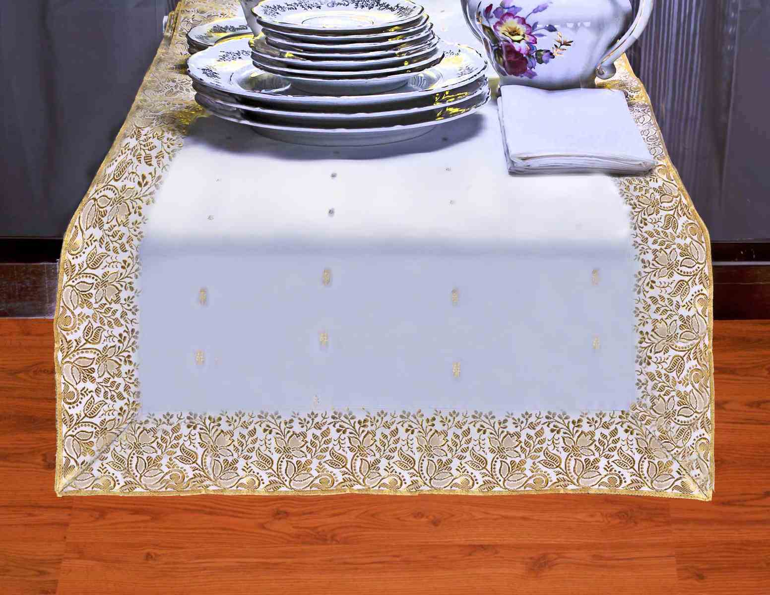 White Gold - Hand Crafted Table Runner (India) - 18 X 108 Inches