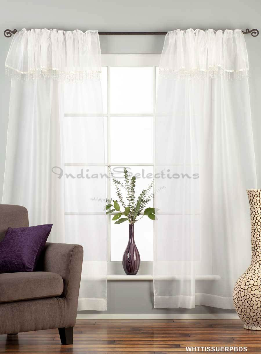 White Rod Pocket W Attached Beaded Valance Sheer Tissue