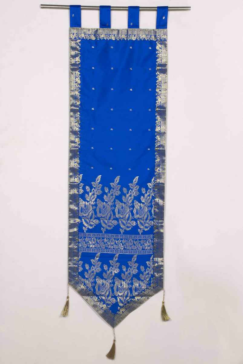 Blue - Handmade Wall hanging Wall decor Tapestry  with Tassels - 18 X 70 Inches