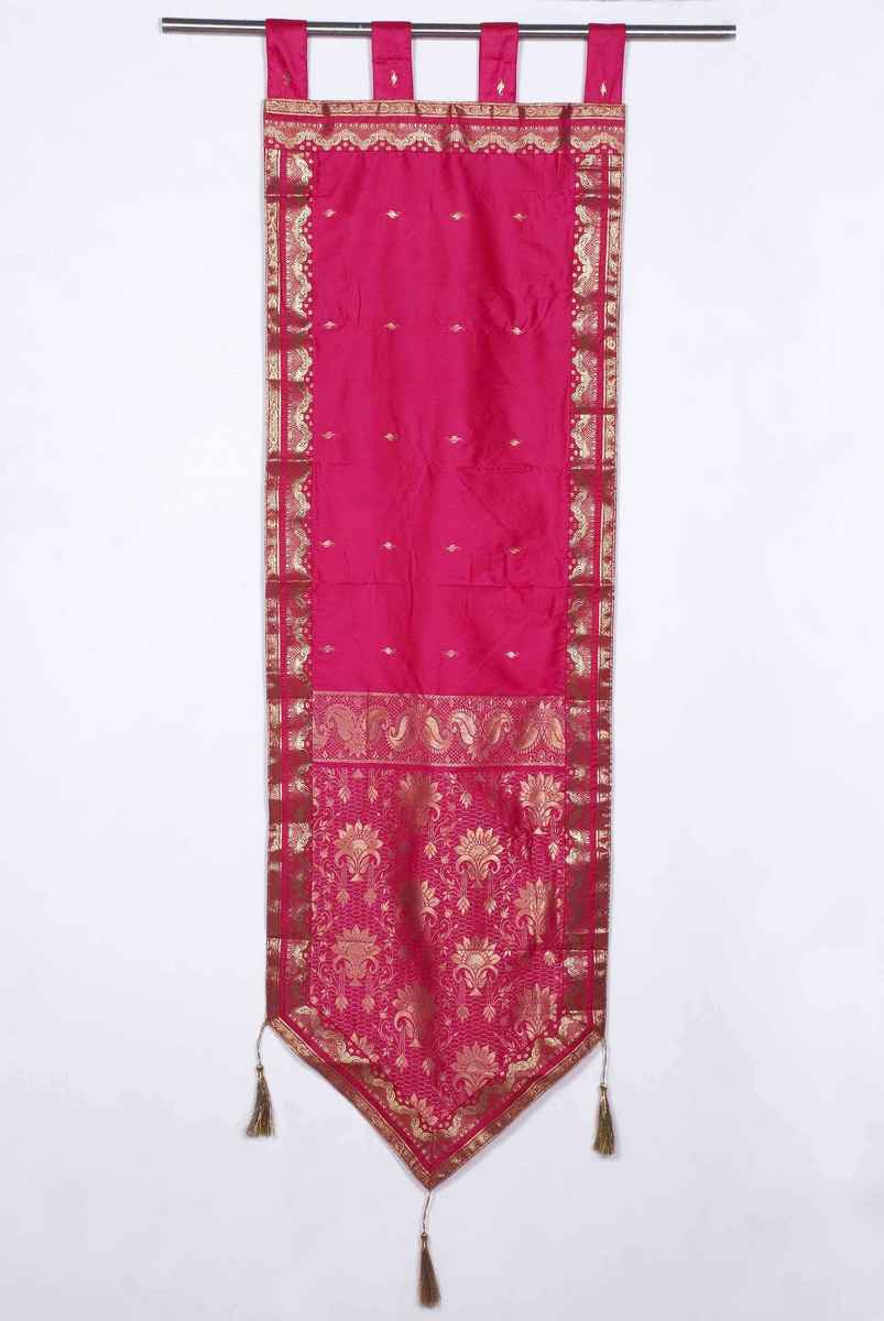 Pink - Handmade Wall hanging Wall decor Tapestry  with Tassels - 24 X 100 Inches