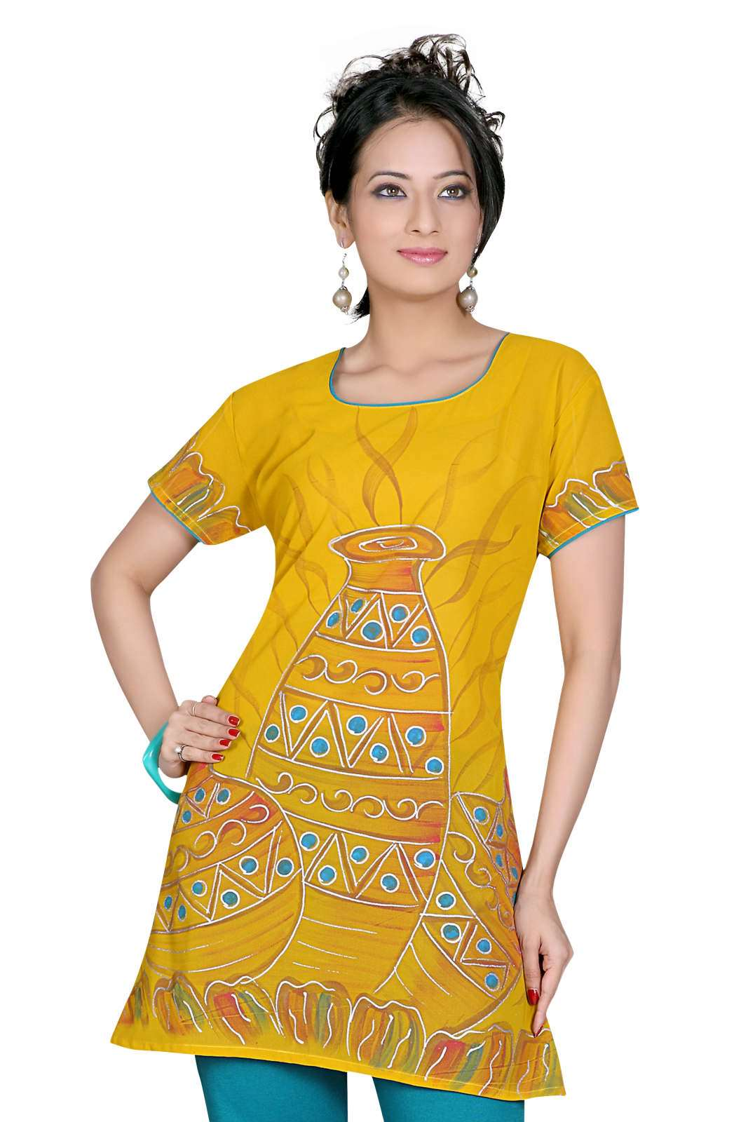 Mustard Crepe 34 sleeves KurtiTunic with hand brush print plus size,  plus size fashion plus size appare