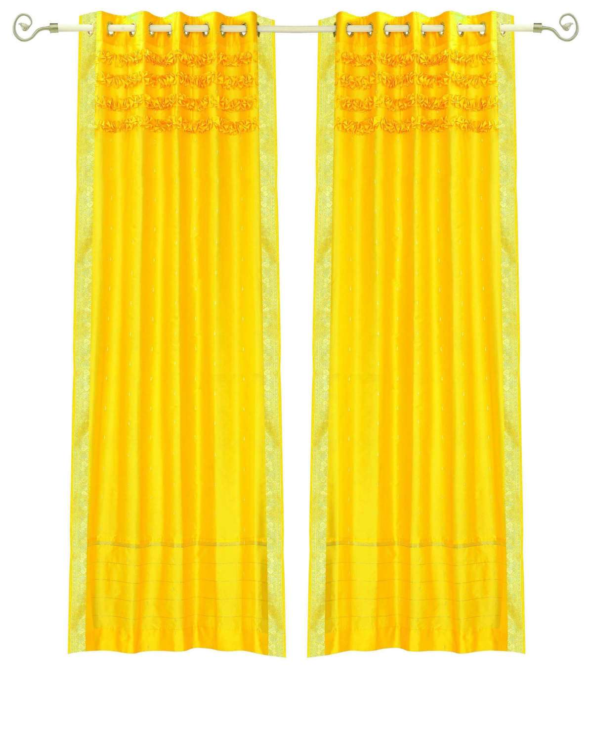 Lined-Yellow Hand Crafted Grommet Top  Sheer Sari Curtain  Drape  Panel   - 43W x 63L - Piece