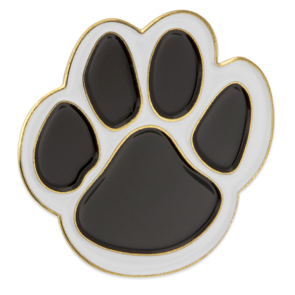 PinMart/'s Orange and White Animal Paw Print School Mascot Enamel Lapel Pin
